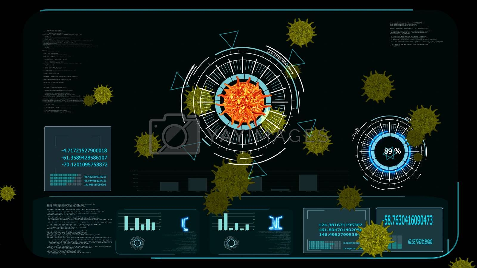 lava color virus covid 19 digital graph was analysis to find vaccine and medicine and yellow another virus on monitor