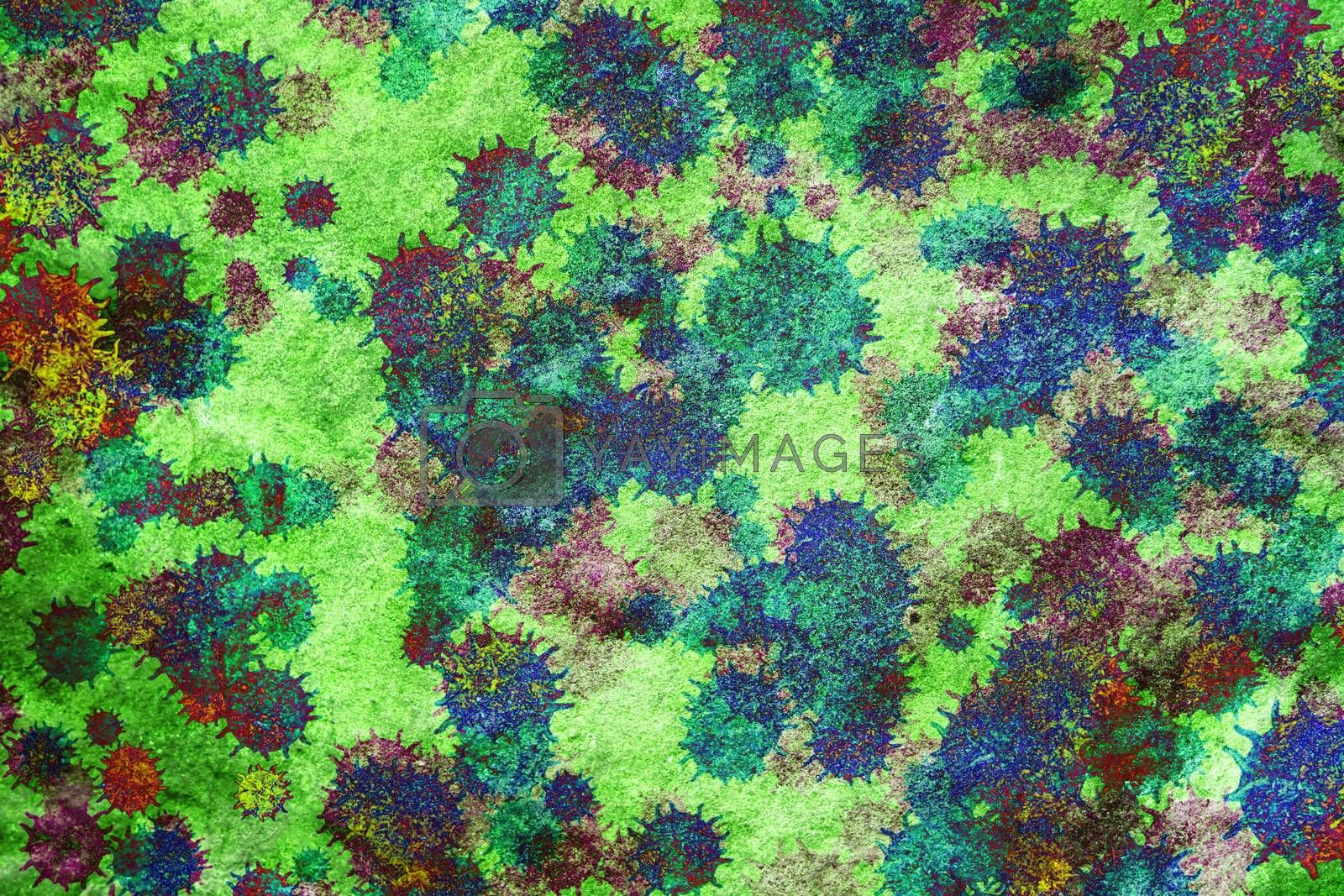 abstract background of covid virus multi color on green texture