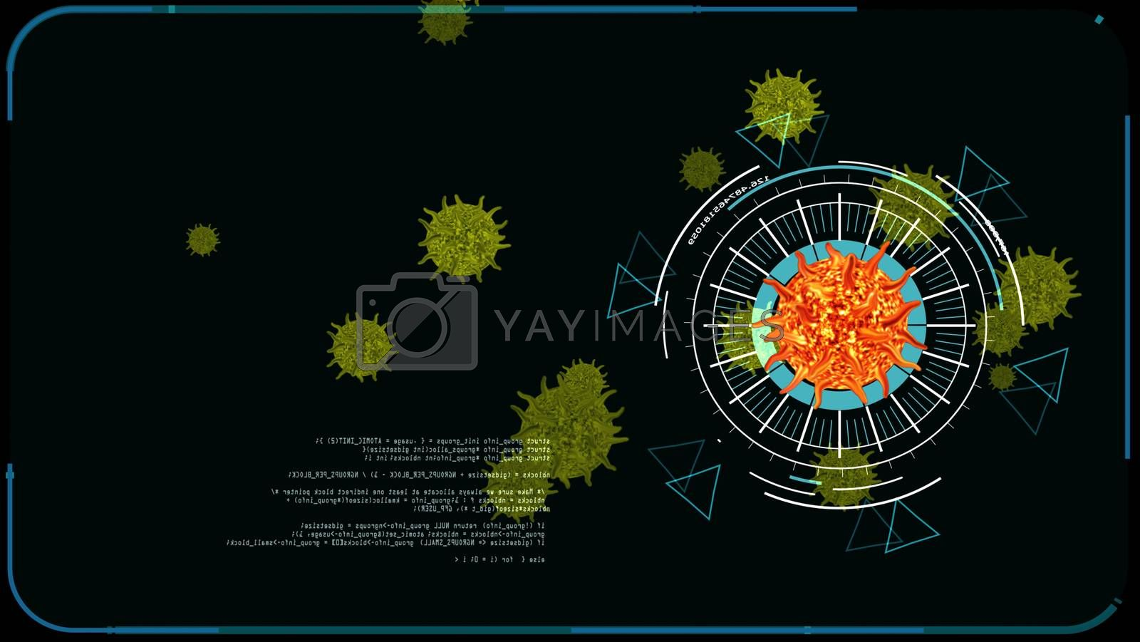 lava color virus covid 19 digital begin analysis to find vaccine and medicine and yellow another virus on monitor