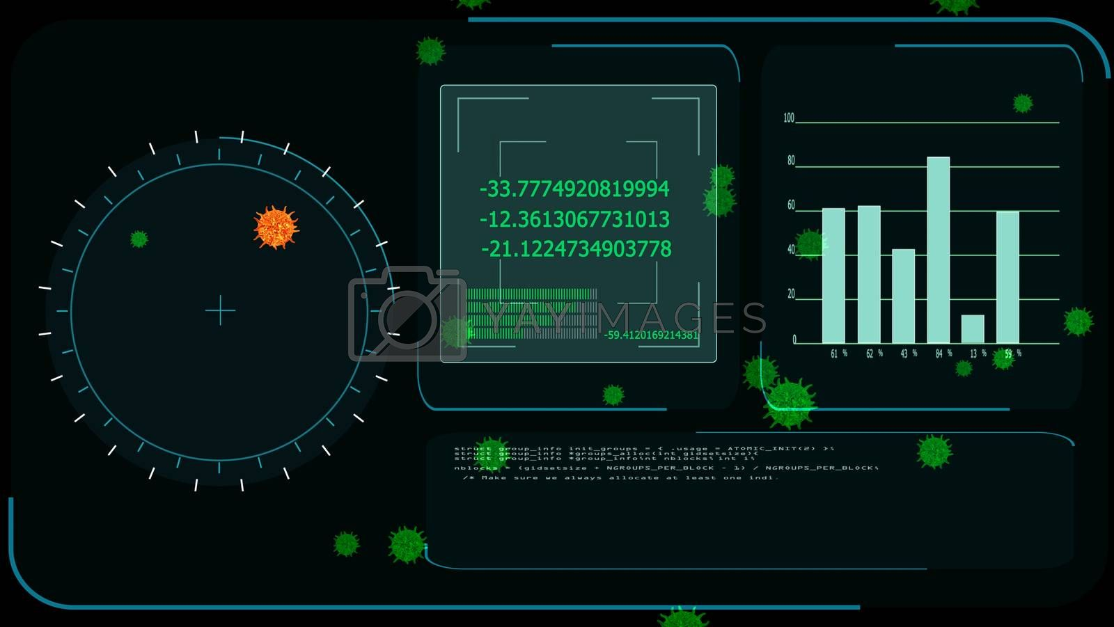 lava virus covid 19 was detedted by digital radar analysis information on monitor to find vaccine and medicine and green virus on screen