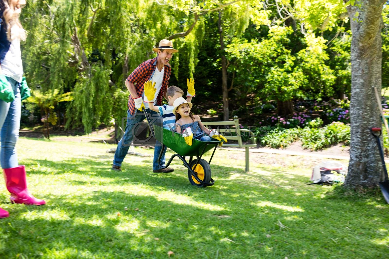 Father carrying his son and daughter in a wheelbarrow in a park