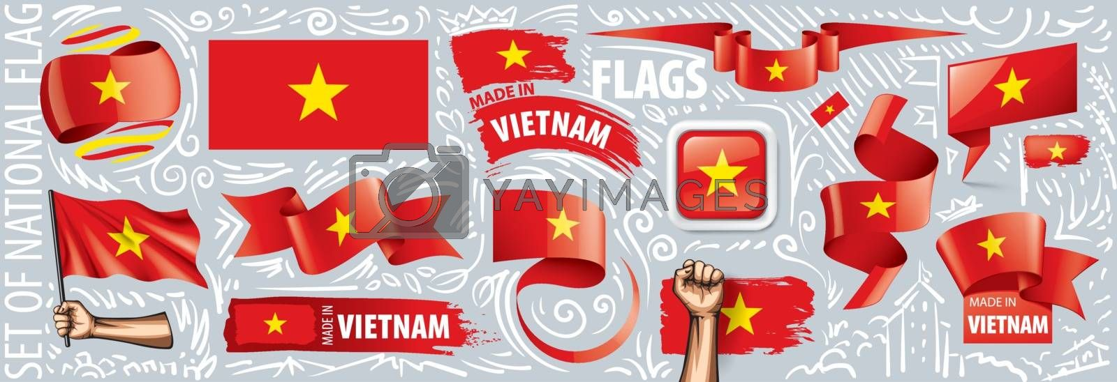 Vector set of the national flag of Vietnam in various creative designs.