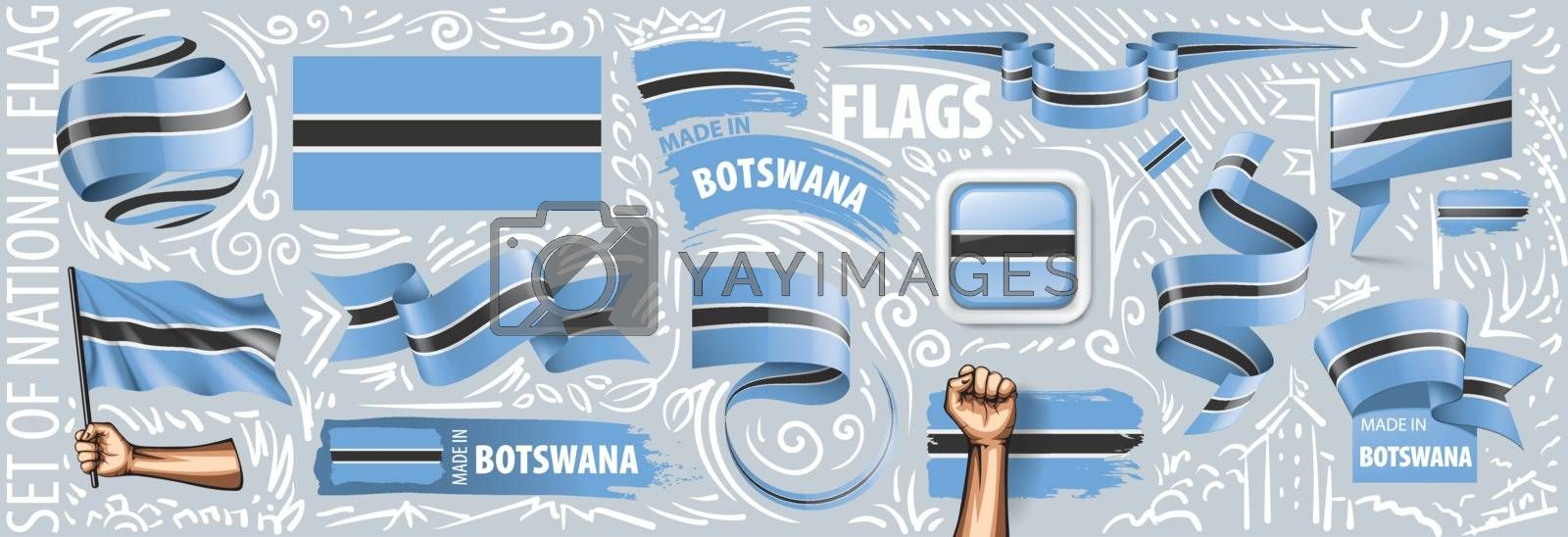 Vector set of the national flag of Botswana in various creative designs.