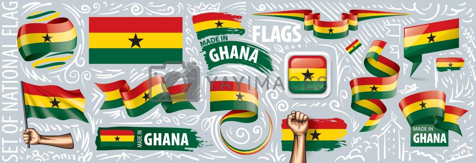 Vector set of the national flag of Ghana in various creative designs.