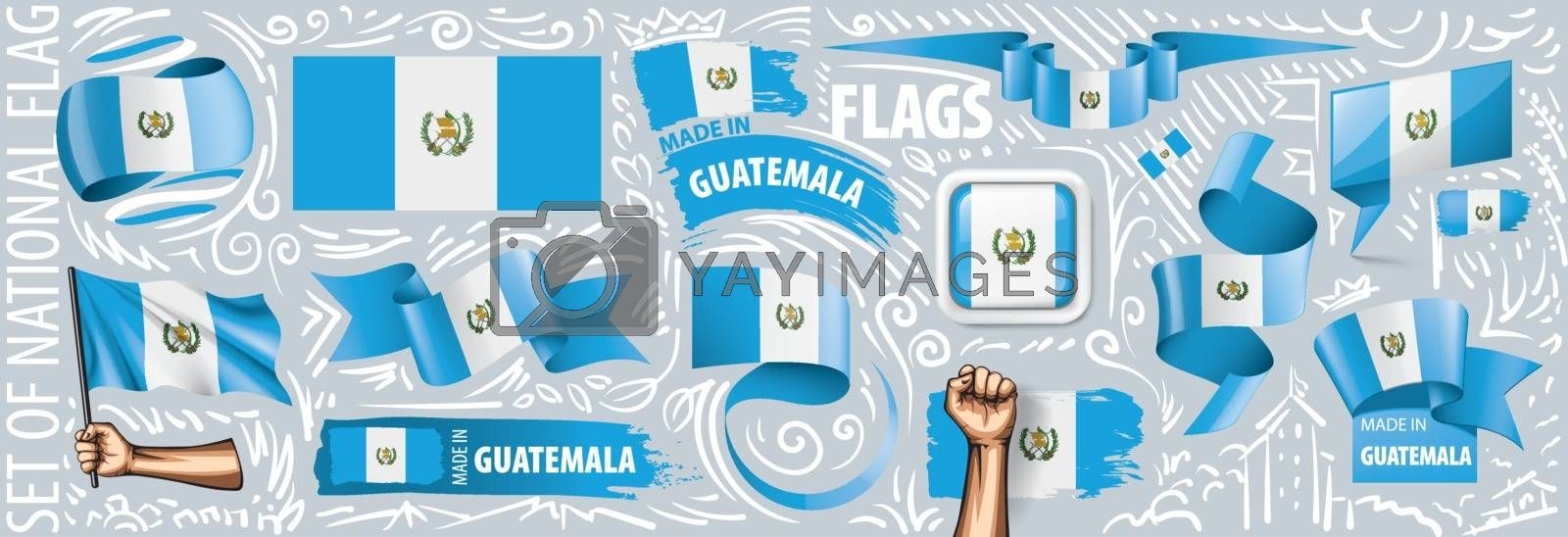 Vector set of the national flag of Guatemala in various creative designs.