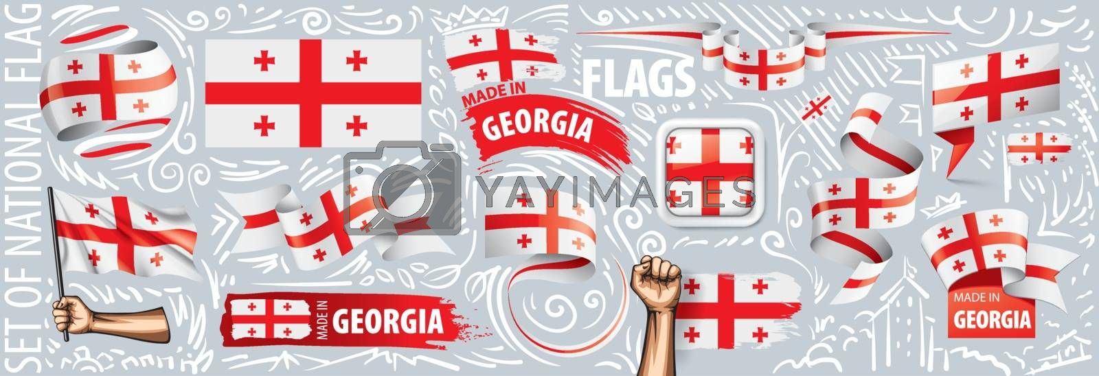 Vector set of the national flag of Georgia in various creative designs.