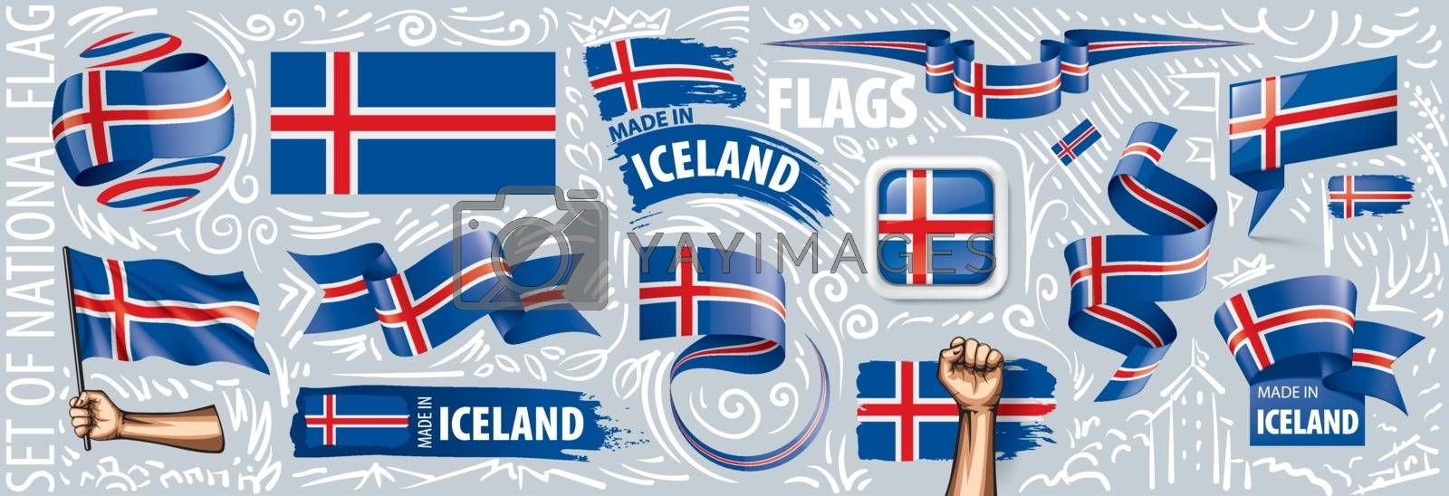 Vector set of the national flag of Iceland in various creative designs.