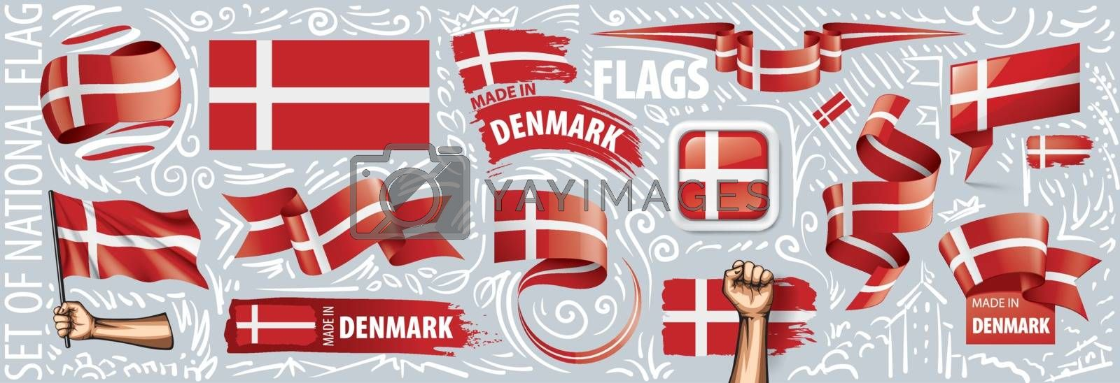 Vector set of the national flag of Denmark in various creative designs.