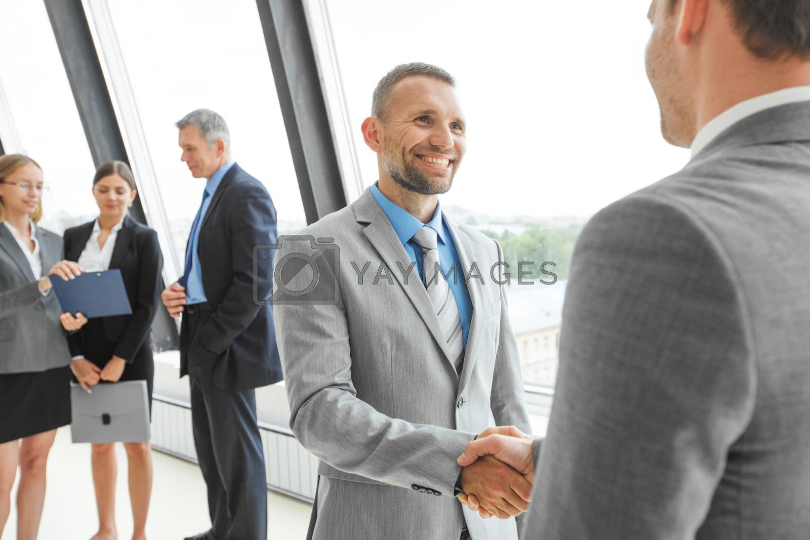 Business people handshake in office, group of colleagues on background
