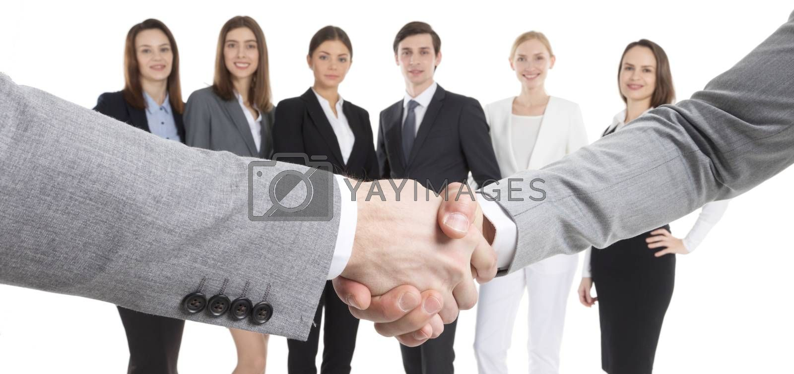 Business handshake close up and team of workers isolated on white background