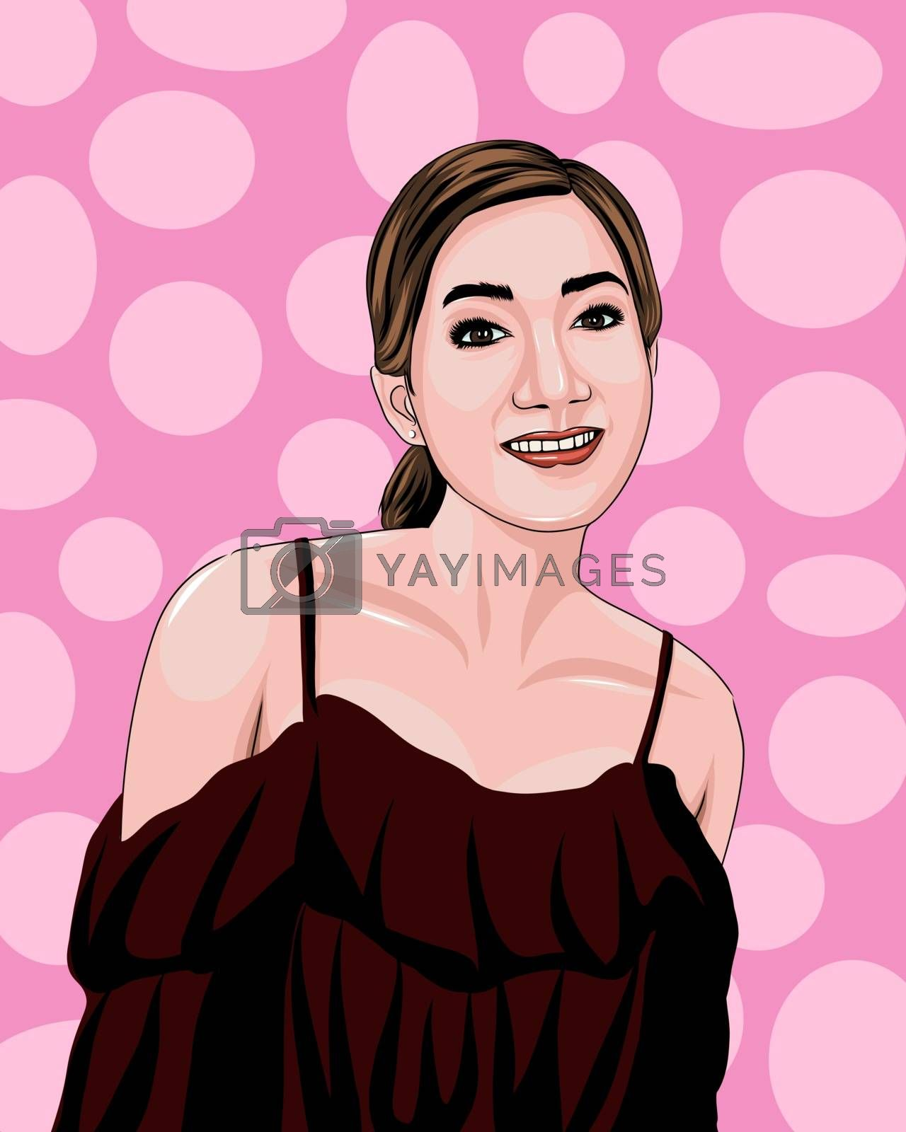 Vector illustration of a beautiful woman wearing a dark off-shoulder shirt On a pink circle pattern background.