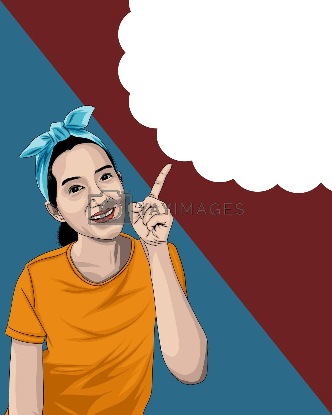 The woman was pointing her finger at the cloud. She smiled, glad, excited to see what was there. Suitable for advertising.