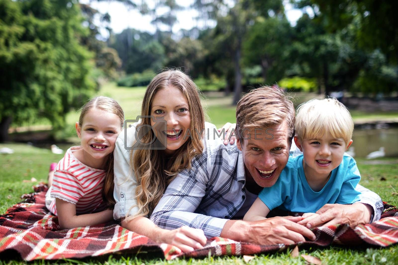 Happy family lying in park on a sunny day