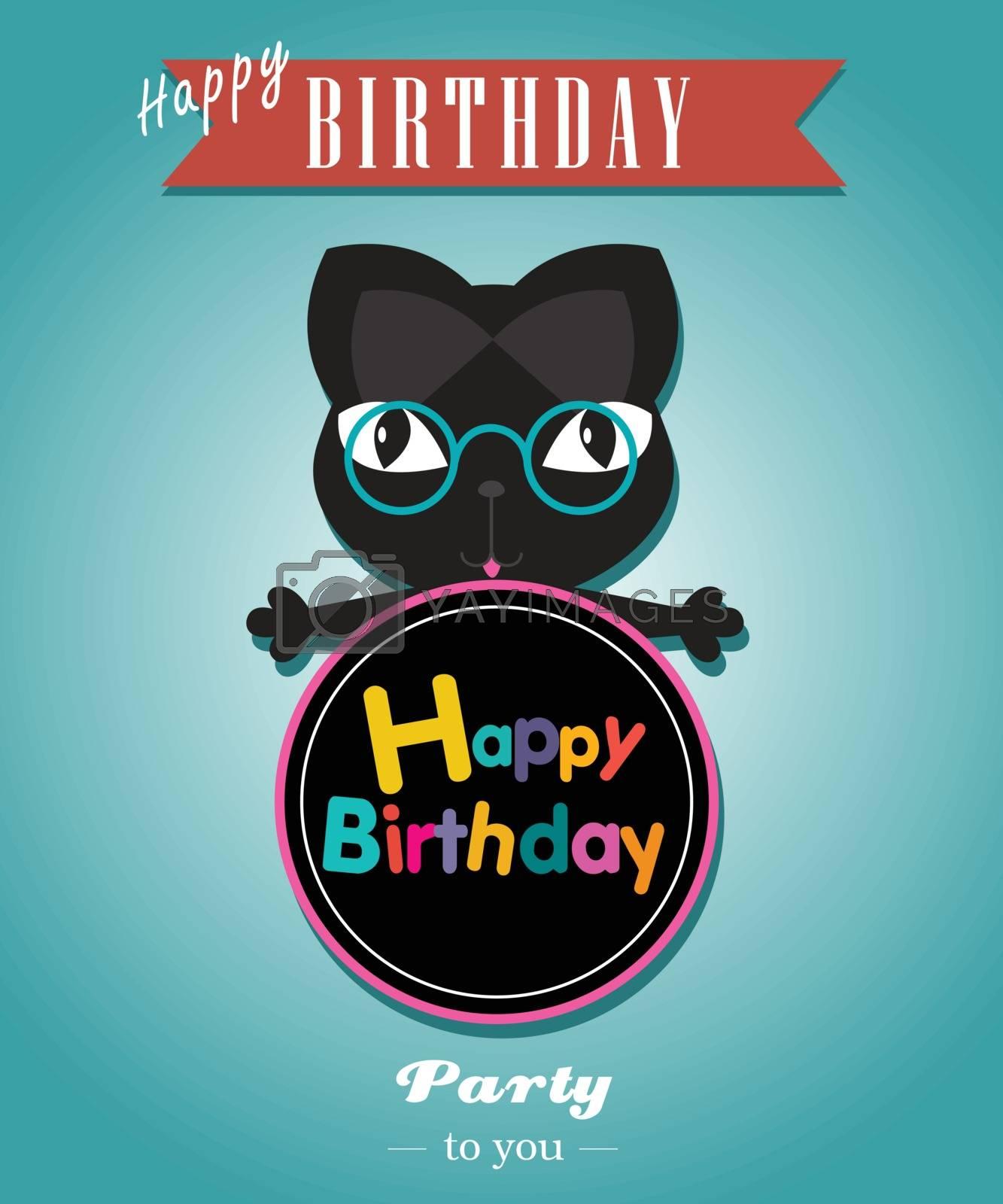 Black cat card happy brithday vector illustrator