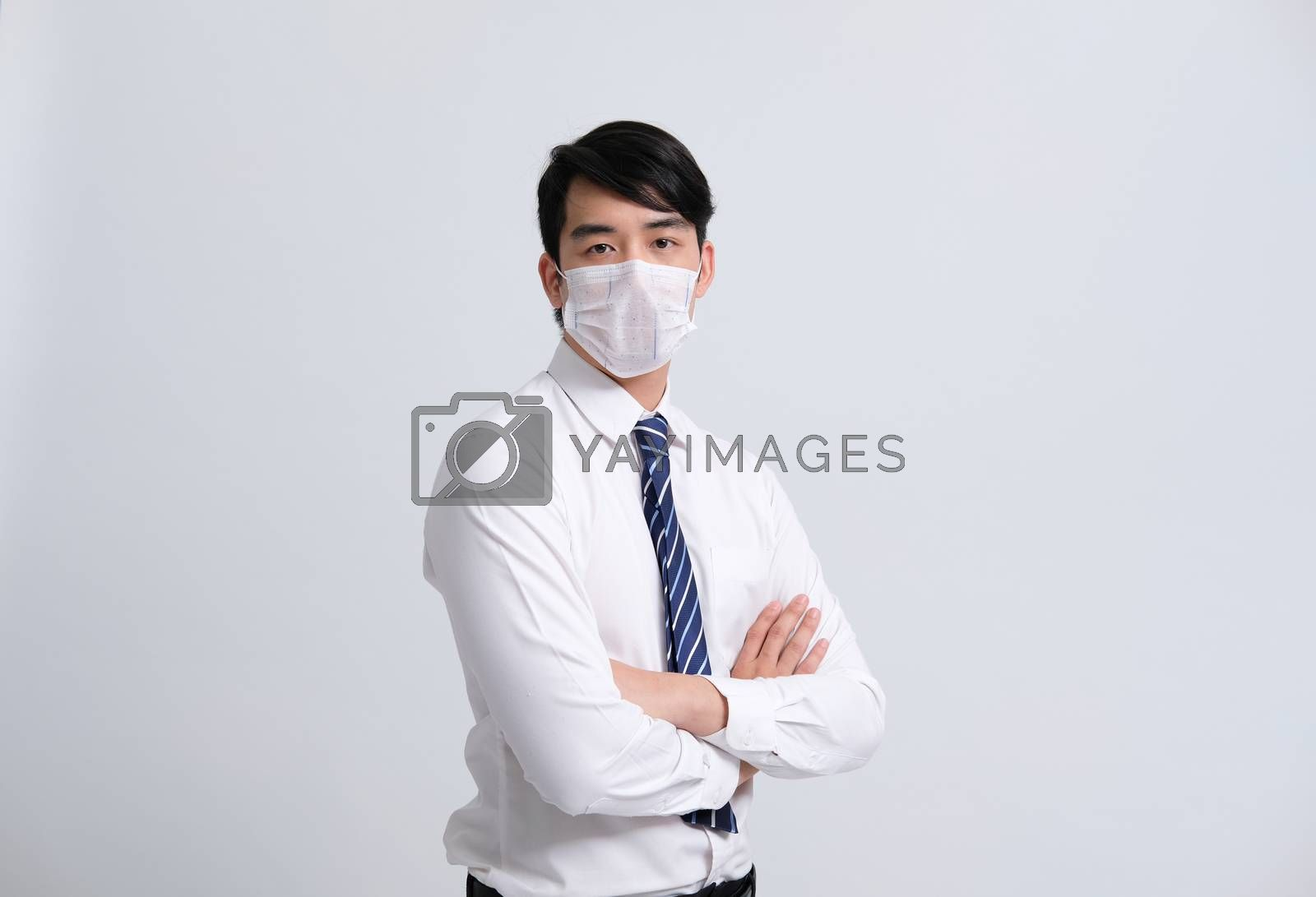 businessman man wearing protective mask against cold flu covid 19 virus bacteria infection pollution