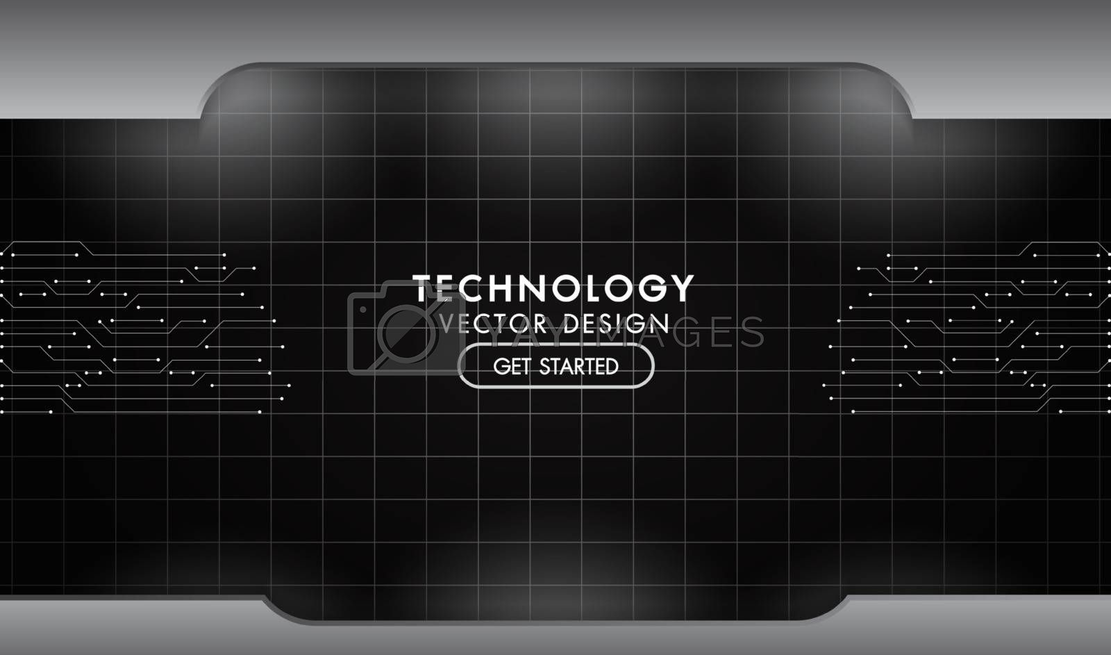 Metal black and grey background technology network texture aluminium steel plates with lighting abstract design vector template.