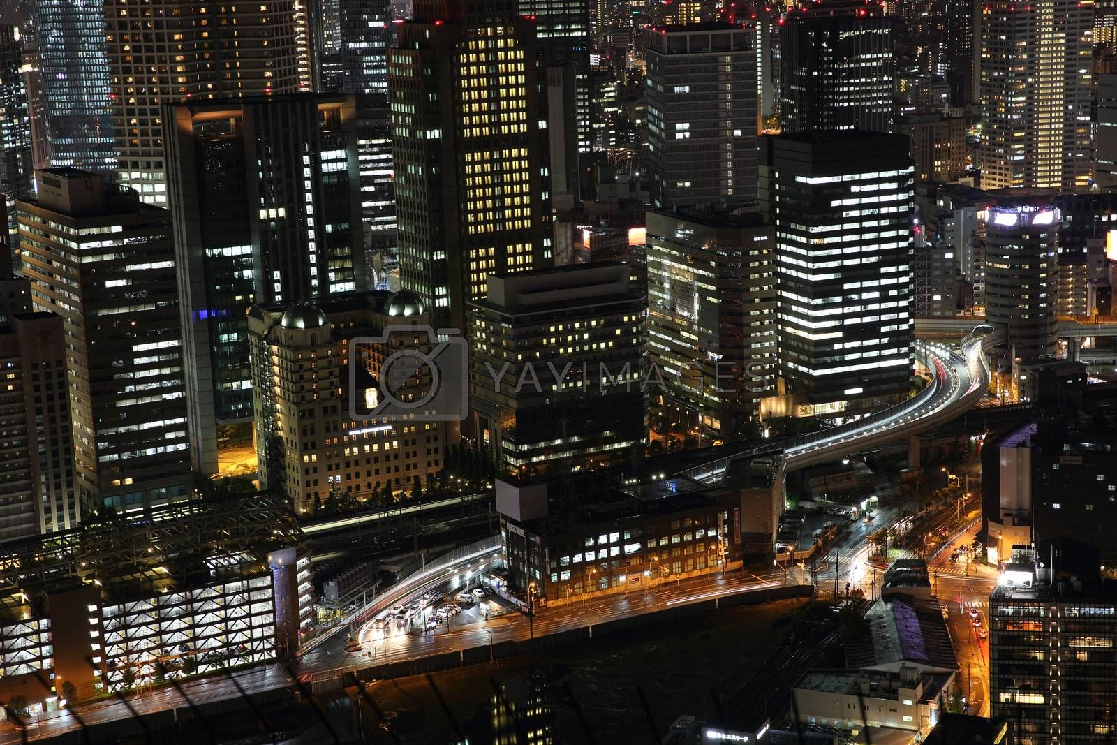 Osaka city in Japan cityscape at night view