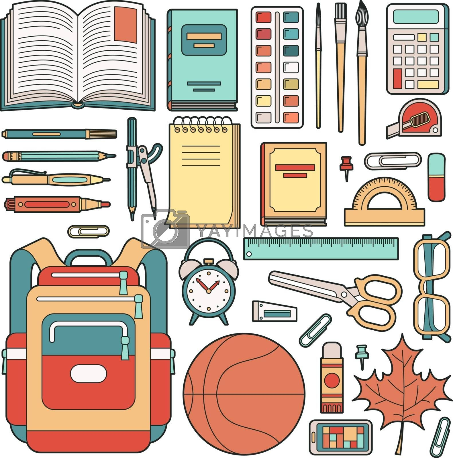 Backpack of the schoolboy and school stuff. Stationery. Vector illustration.