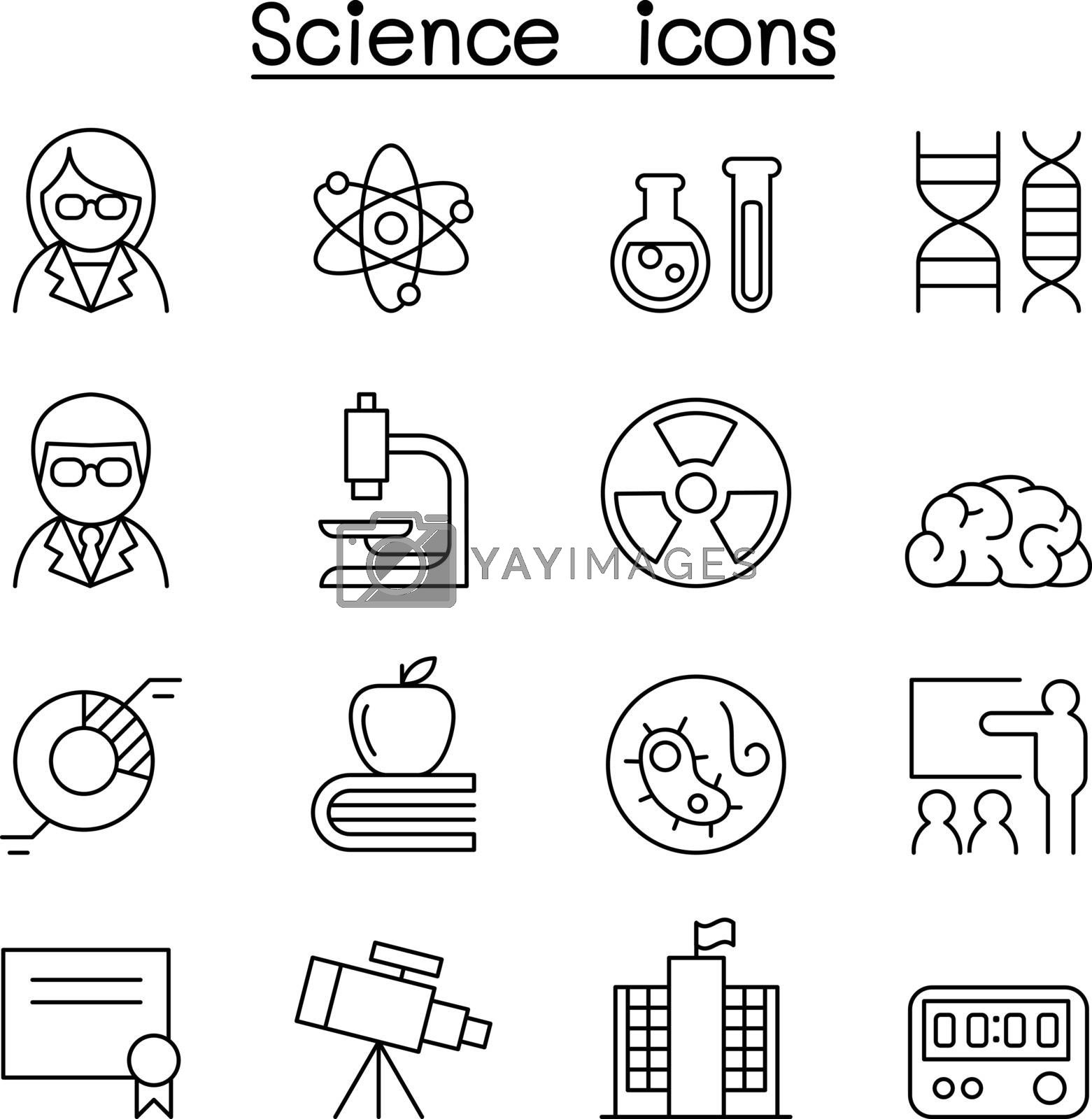Science icon set in thin line style