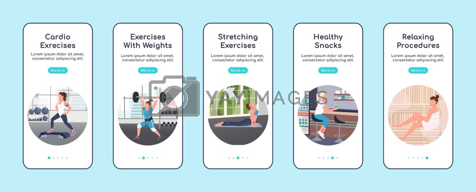 Gym workout onboarding mobile app screen flat vector template. Training and healthy lifestyle walkthrough website steps with characters. UX, UI, GUI smartphone cartoon interface, case prints set
