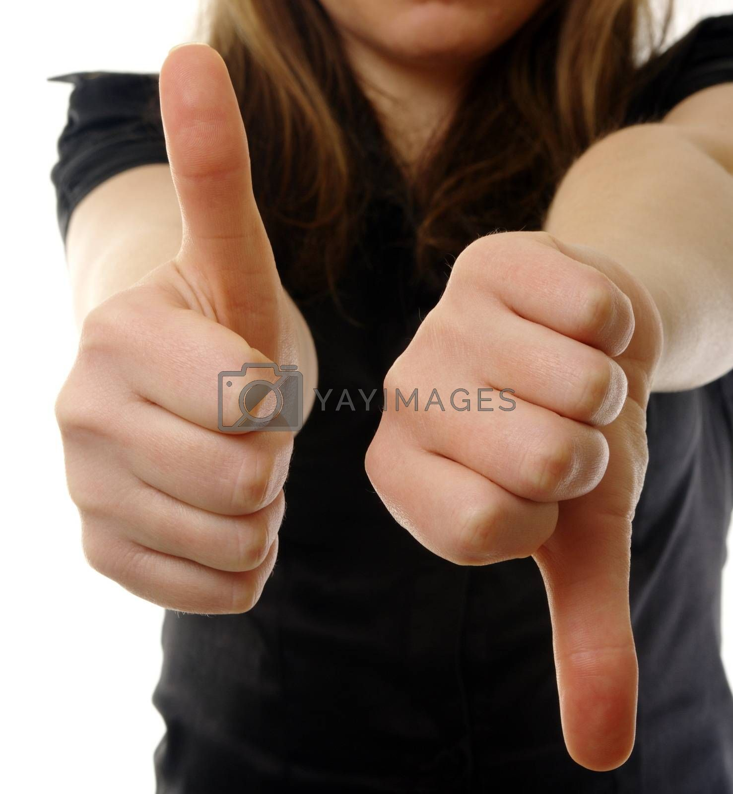 business woman with thumbs up and down