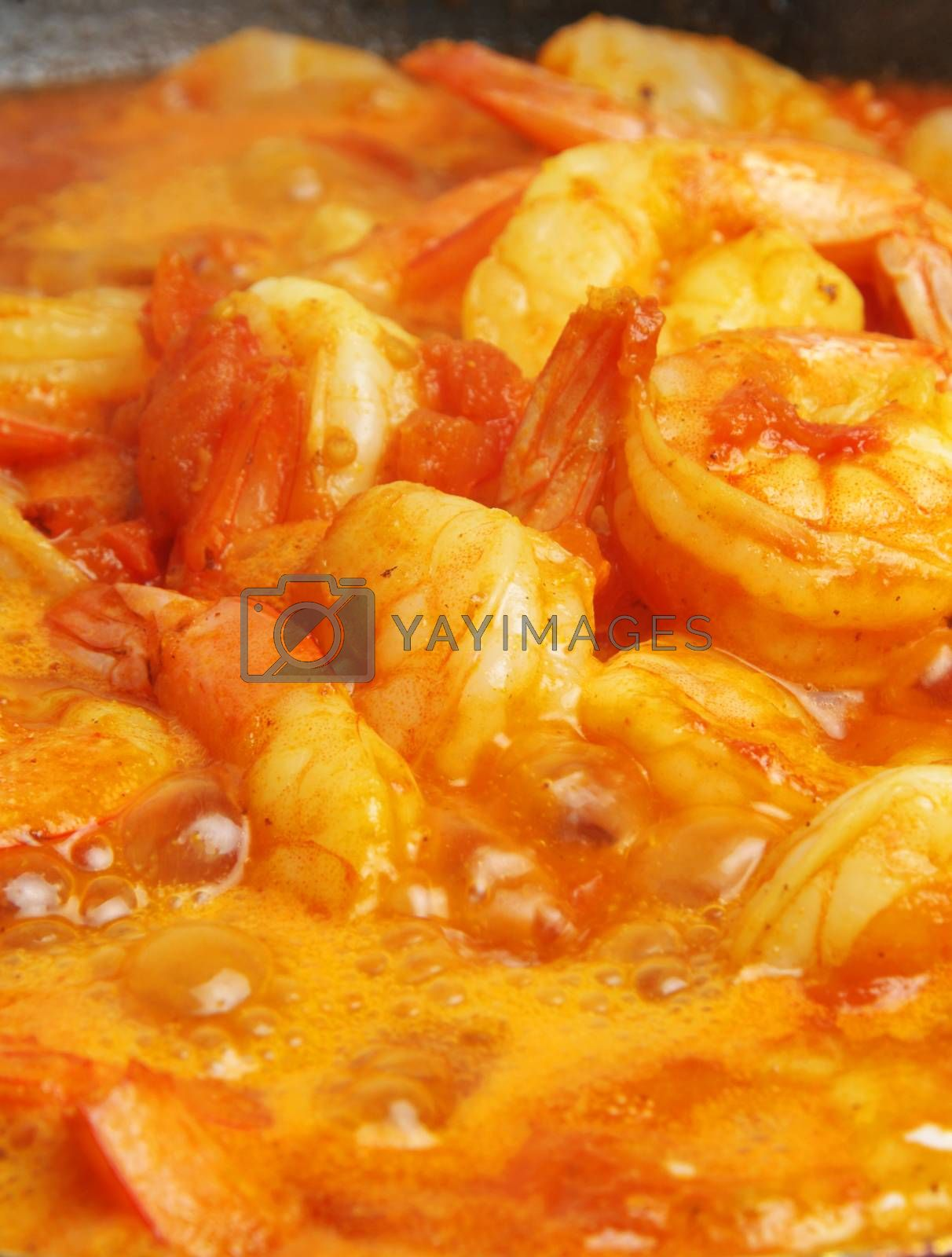 delicious cooking prawns closeup