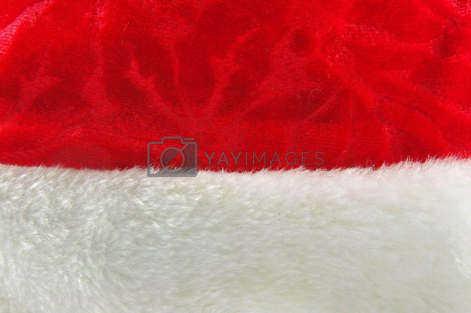 closeup of red christmas hat as a background