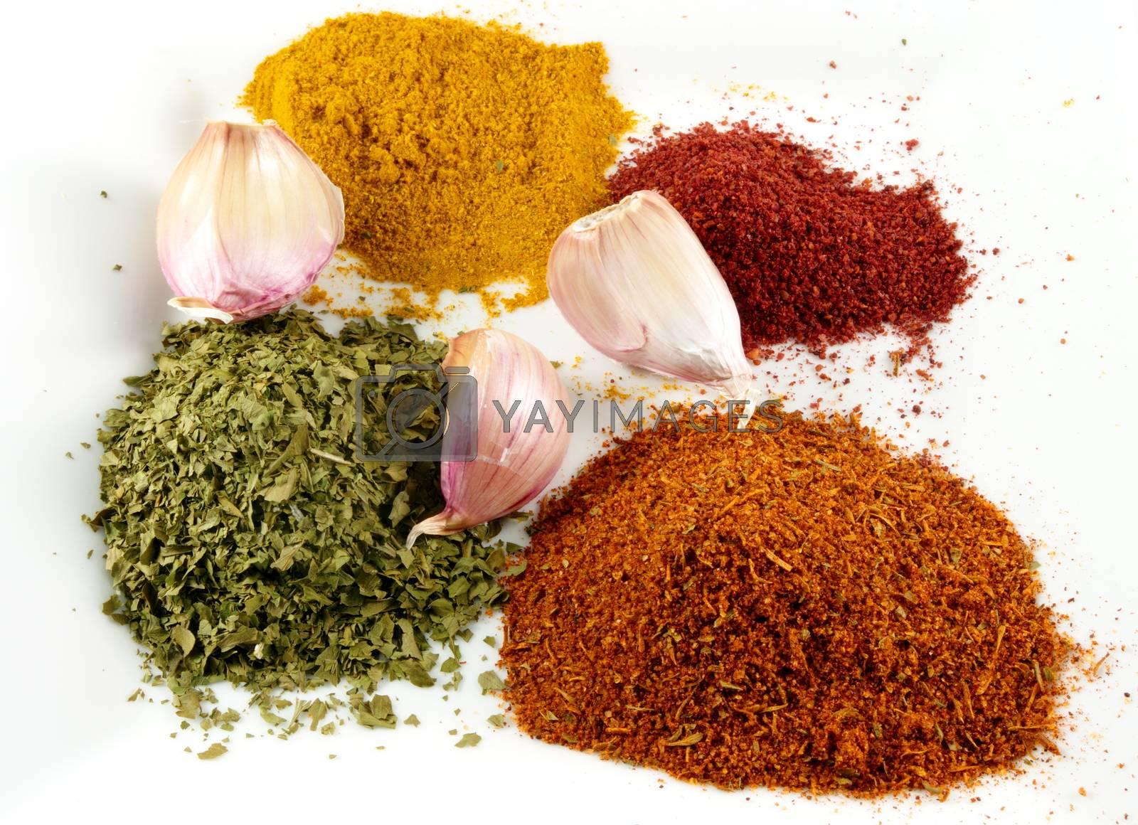various spices with garlic closeup