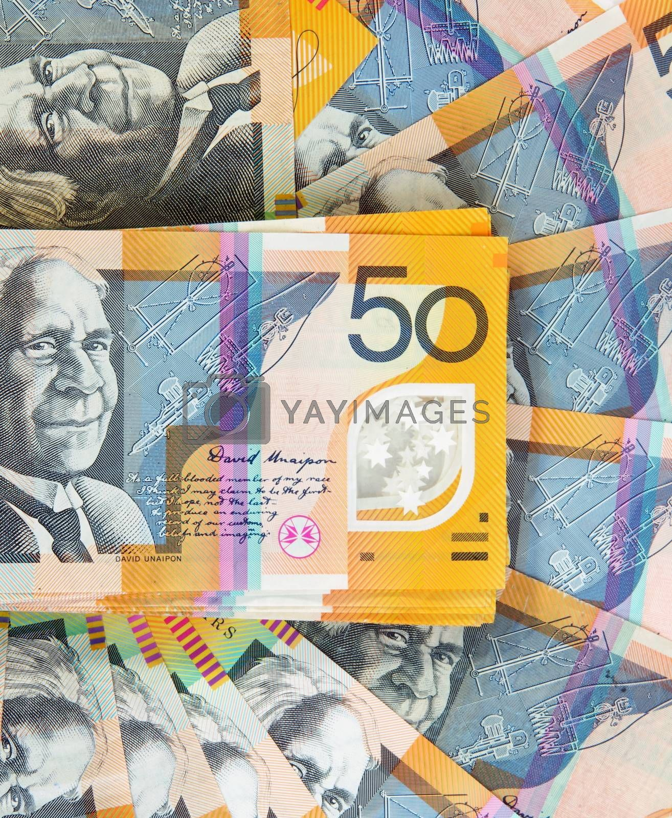 australian fifty dollars notes background
