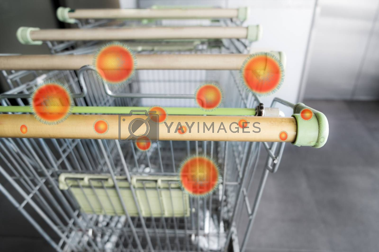 Empty shopping cart with dirty cart handle during coronavirus outbreak, risk to contaminated with germs virus bacteria and pathogen. Covid-19 disease epidemic concept