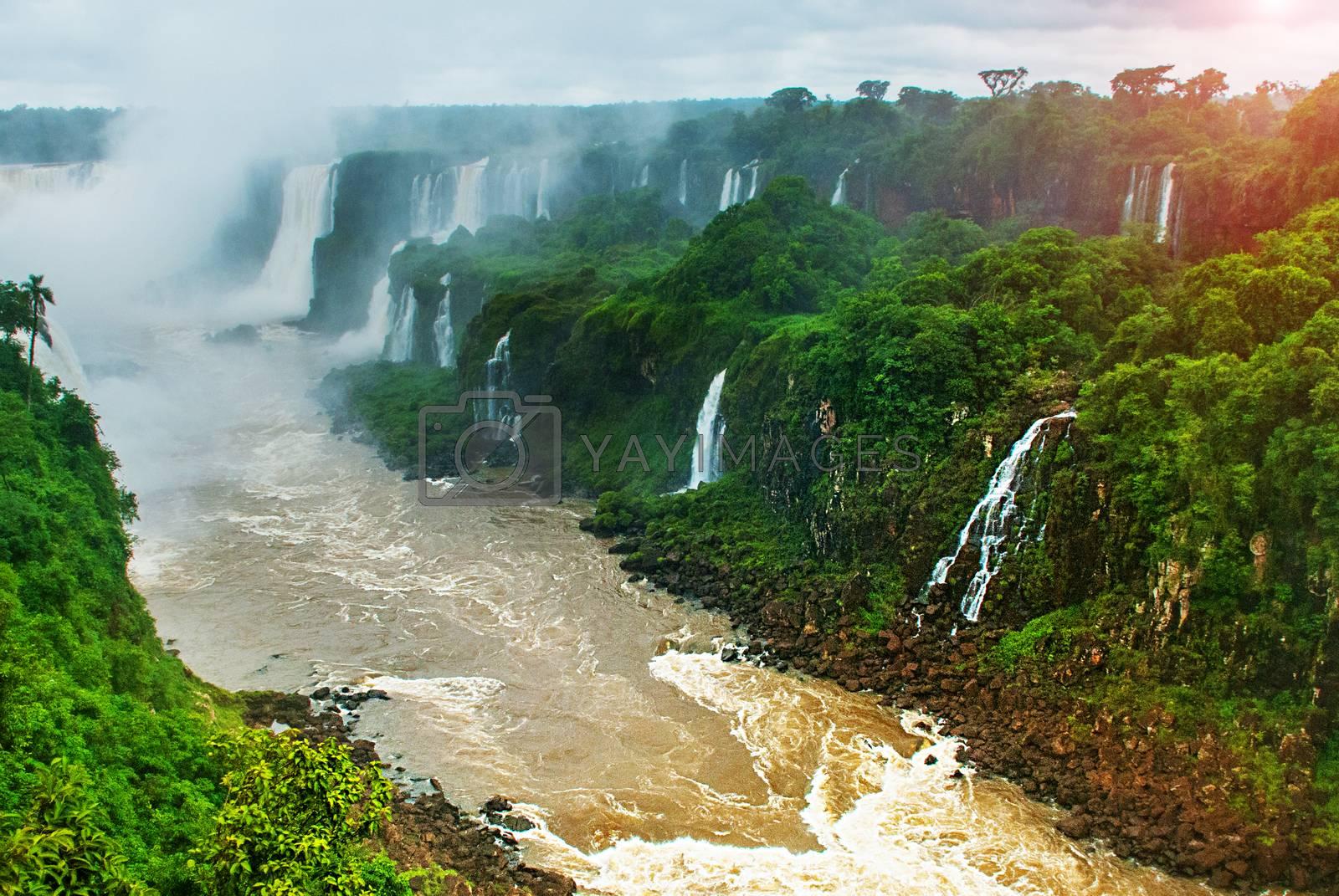 Brazil, America, Iguazu falls. World-famous and popular among tourists waterfall. Seventh wonder of the world. UNESCO