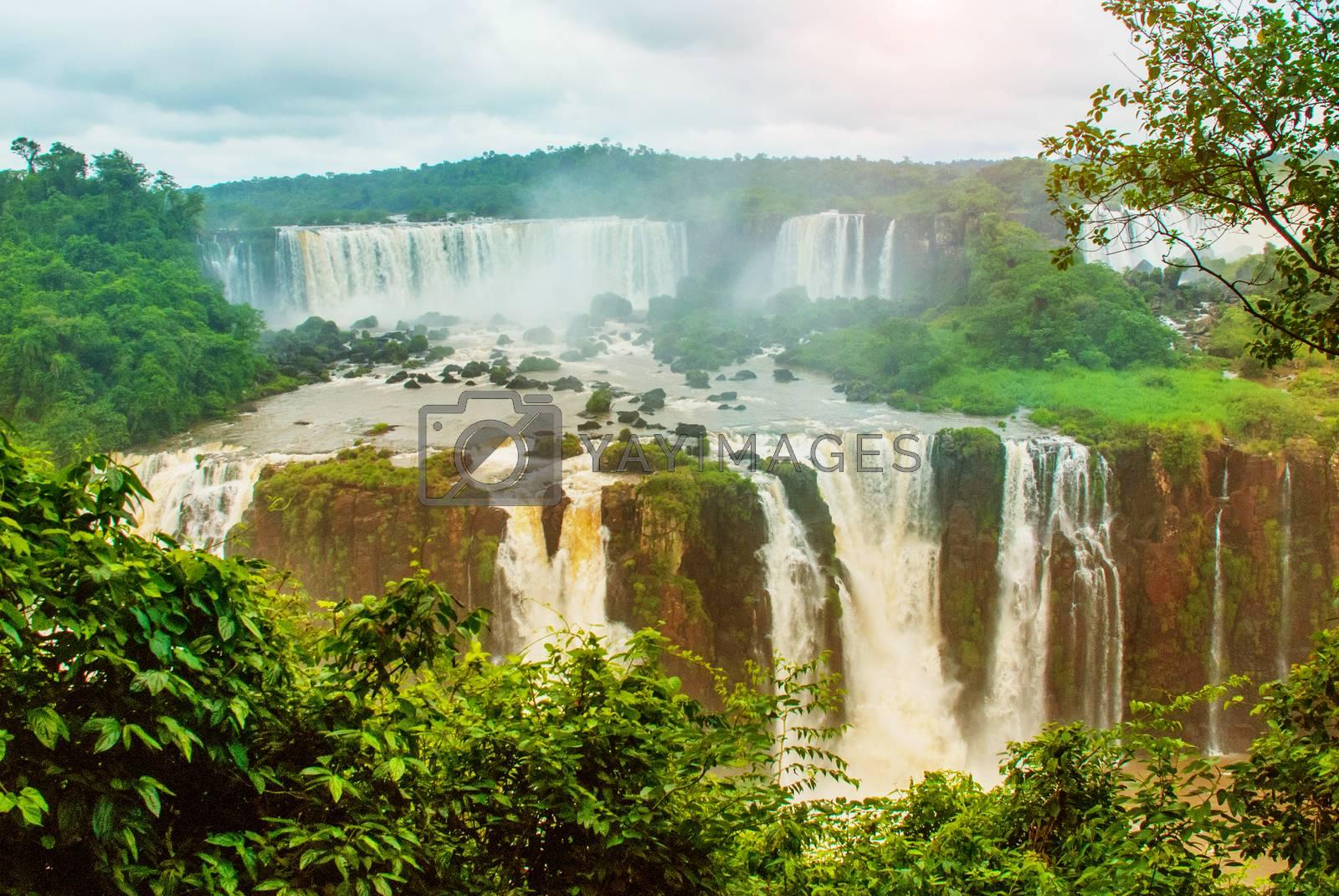 Iguazu falls, one of the new seven wonders of nature. UNESCO World Heritage, view from Brazilian side. Brazil, America.