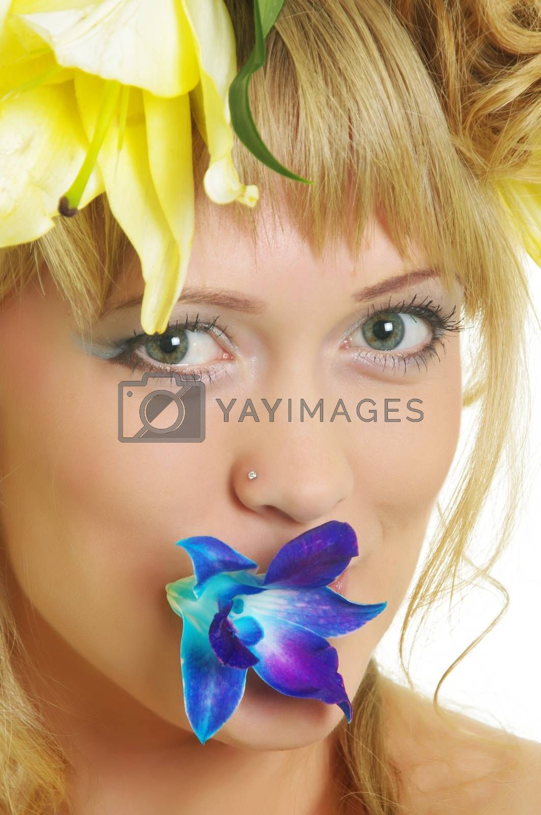beautiful woman with flowers on white