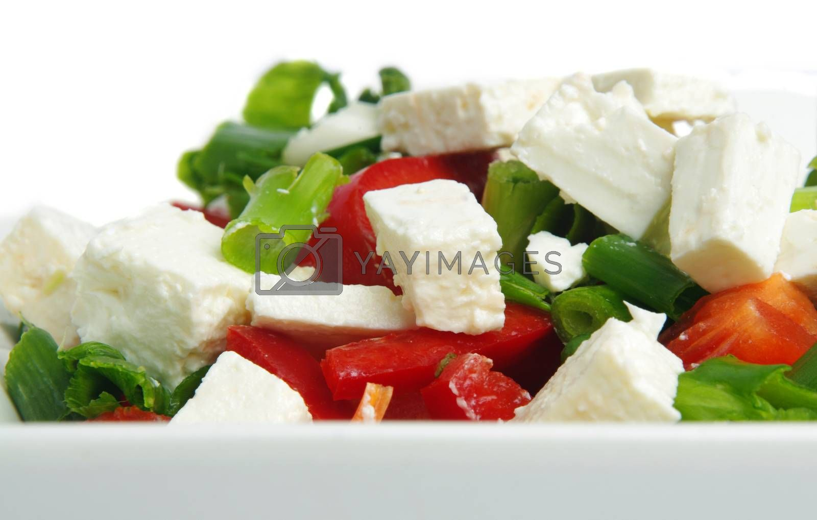 fresh salad with cheese onion and capsicum