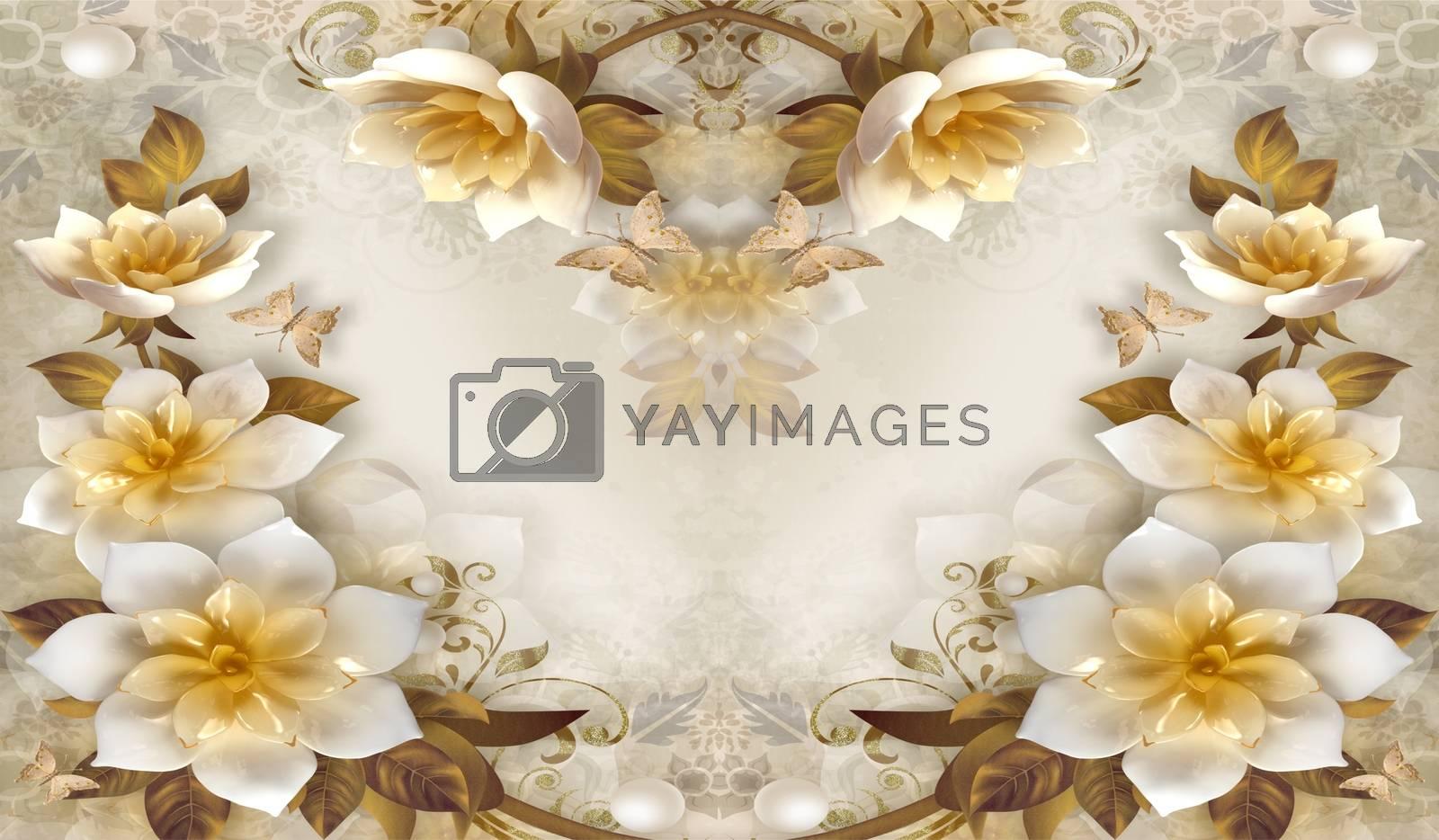 3d floral swan backgroun ilustration