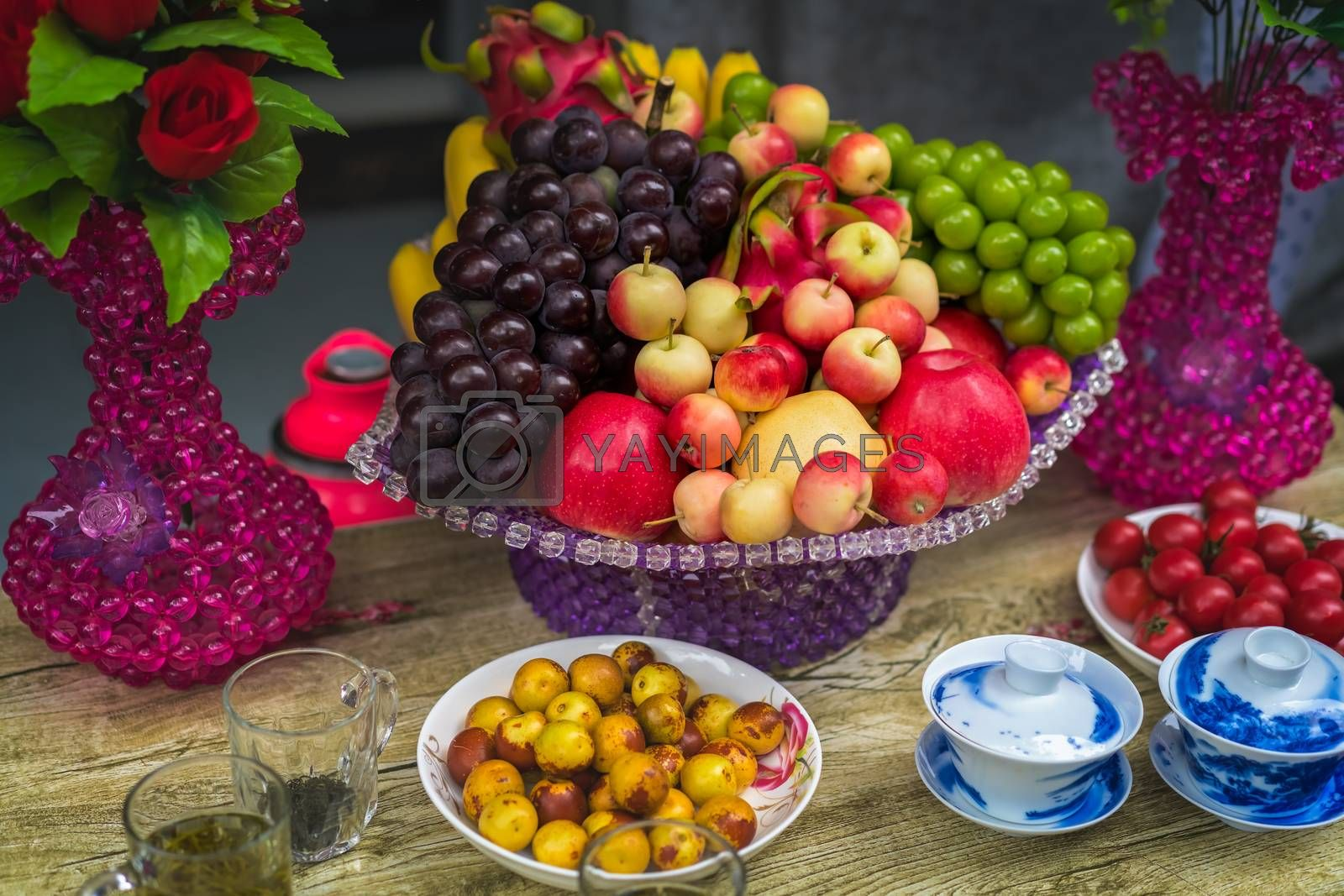 Glass porcelain basket with ripe fresh fruits by pawopa3336