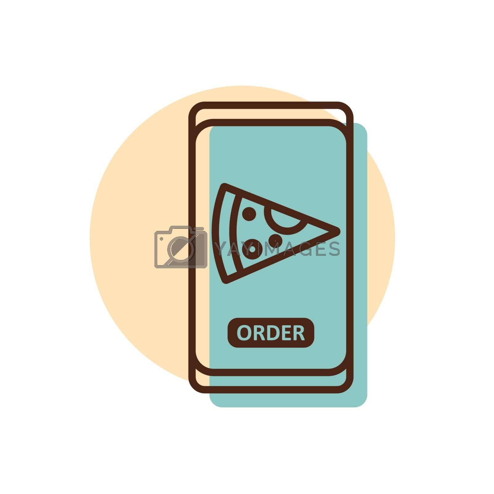 Fast food delivery service vector icon. Pizza slice sign. Mobile app order food online website.