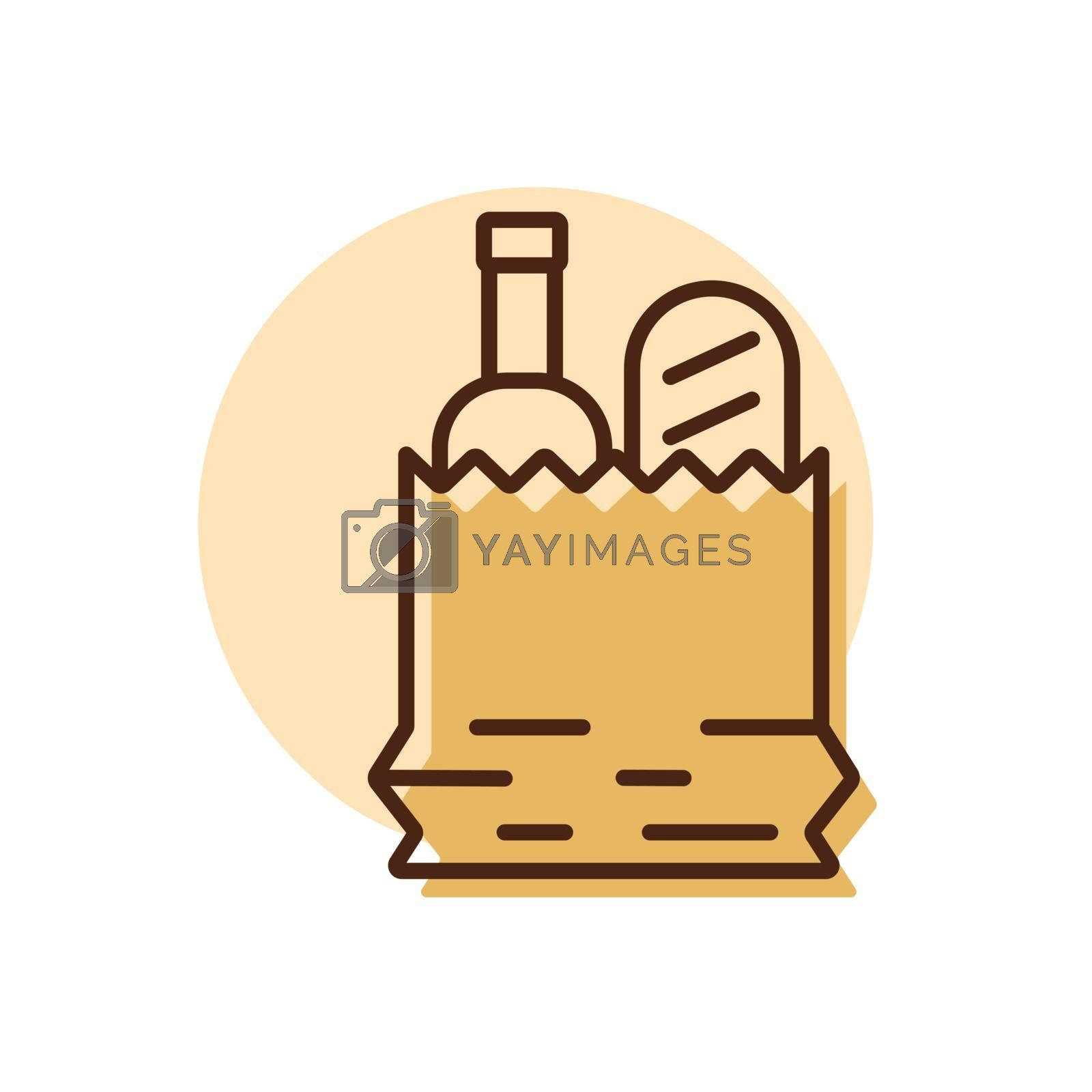 Paper bag with food vector icon by nosik