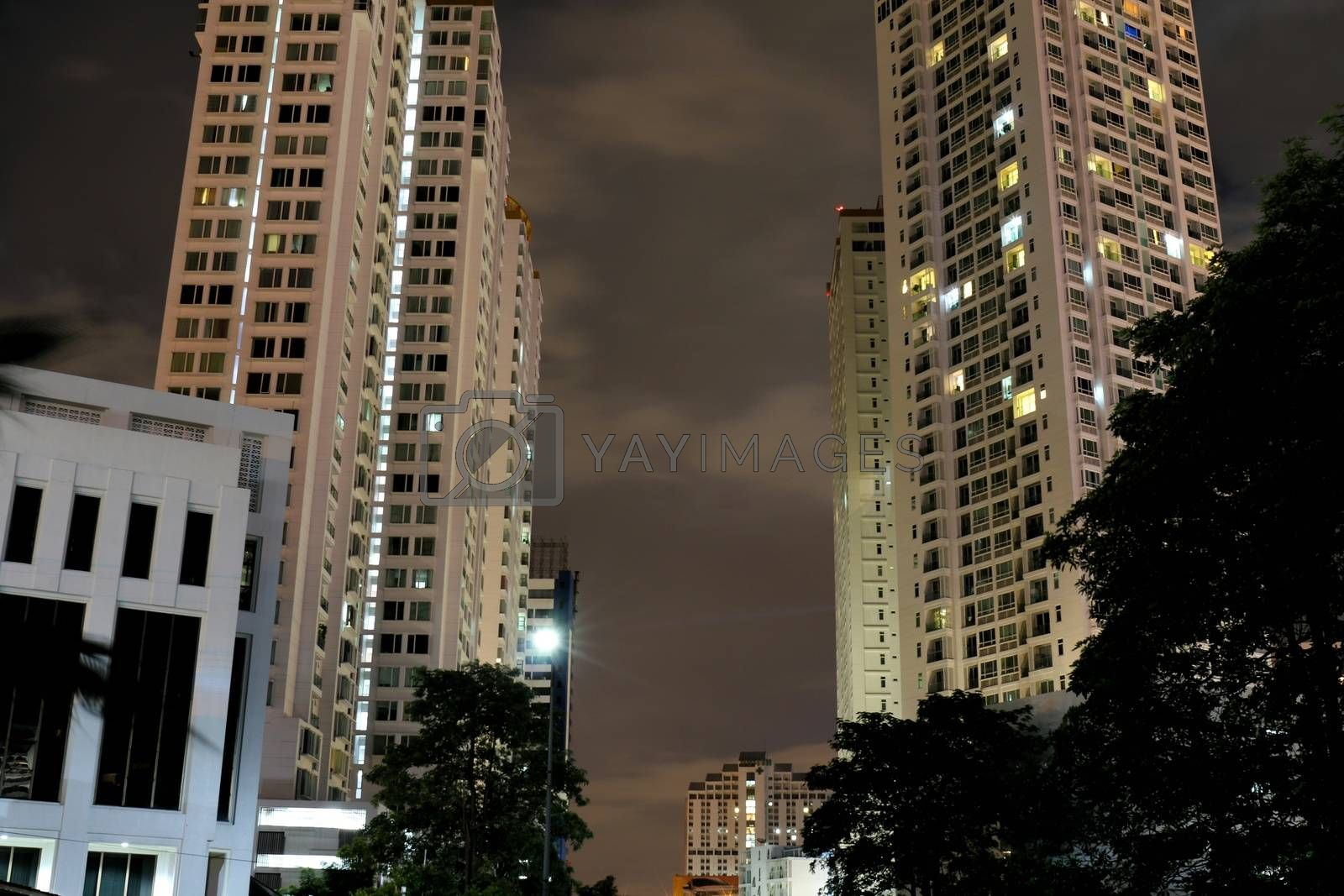 residential buildings twins at night view