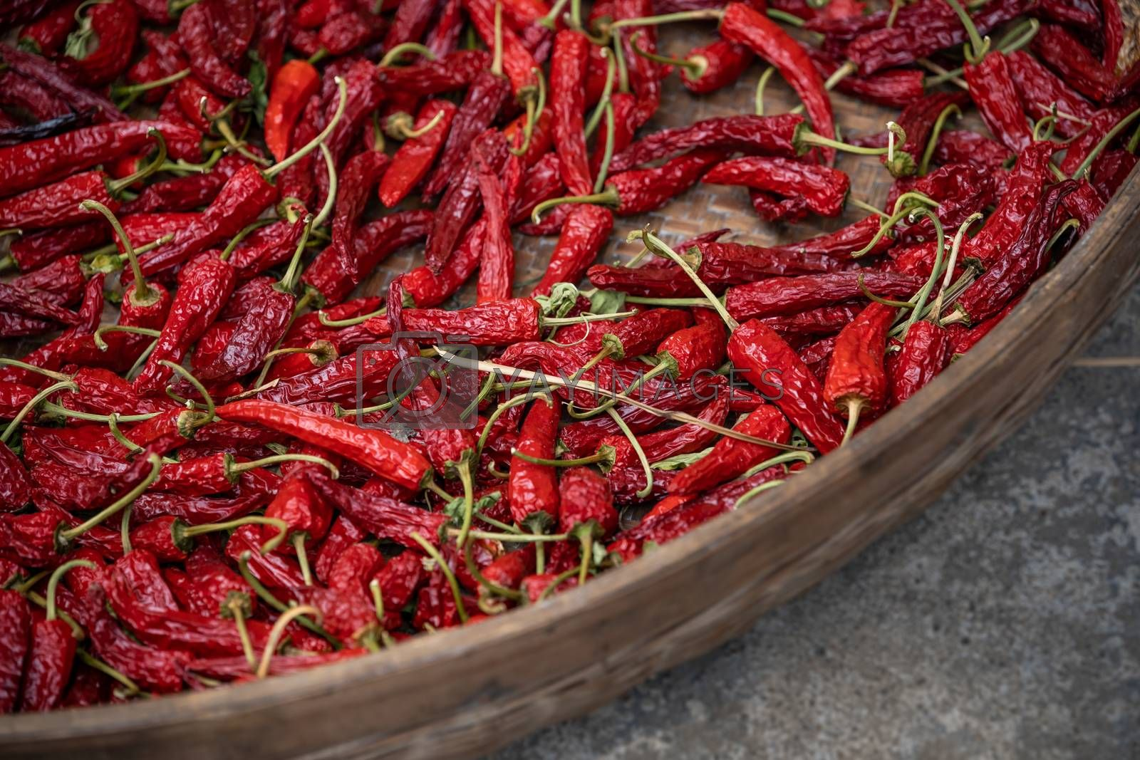Chili drying in a wicker bowl by pawopa3336