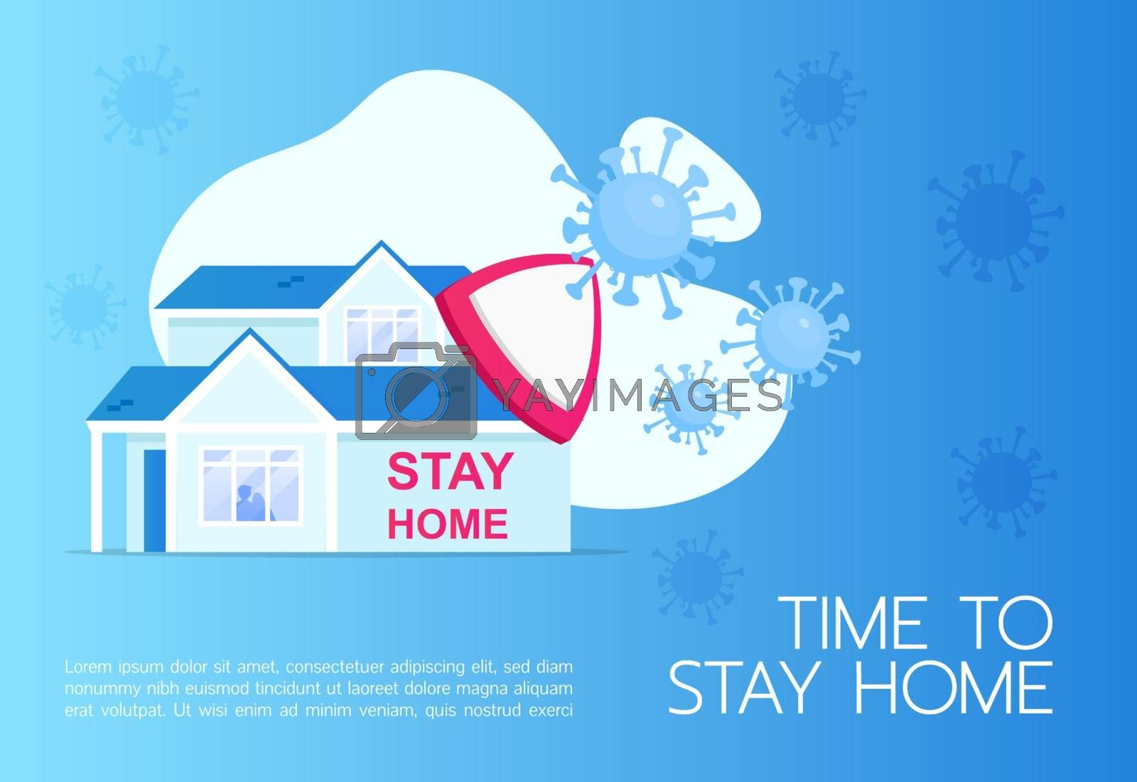 Time to stay home banner flat vector template. Brochure, poster concept design with cartoon illustration. Social distancing. Quarantine horizontal flyer, leaflet with place for text