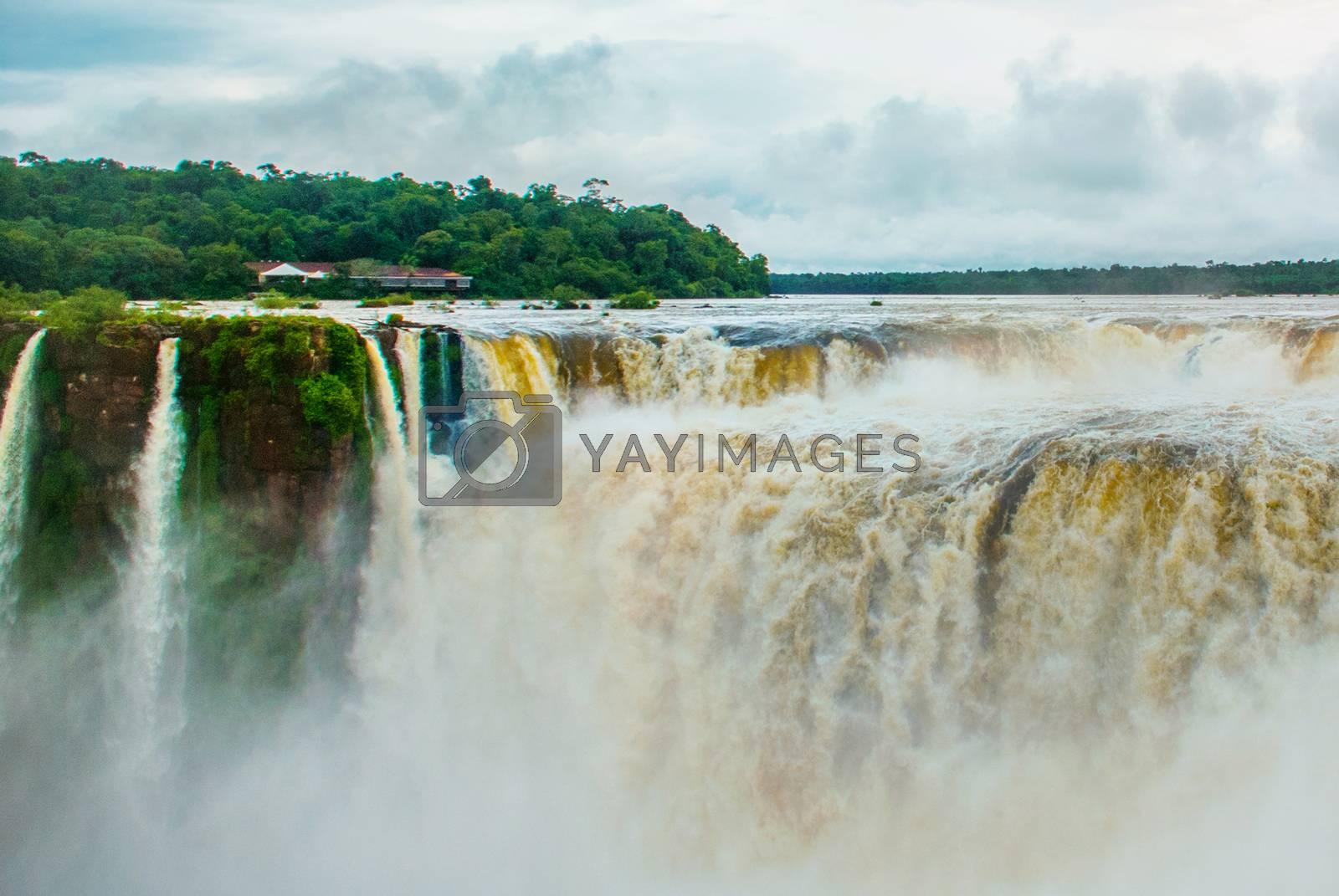 All flows that converge into Devil's Throat at Iguazu Falls. Argentina. UNESCO World Heritage site.