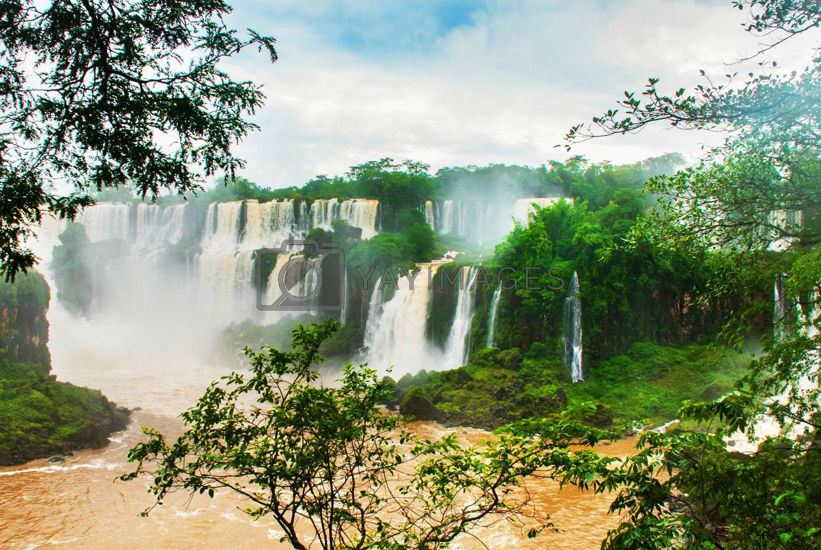 Panorama at Iguazu Falls, one of the New Seven Wonders of Nature, Argentina. UNESCO World Heritage site.