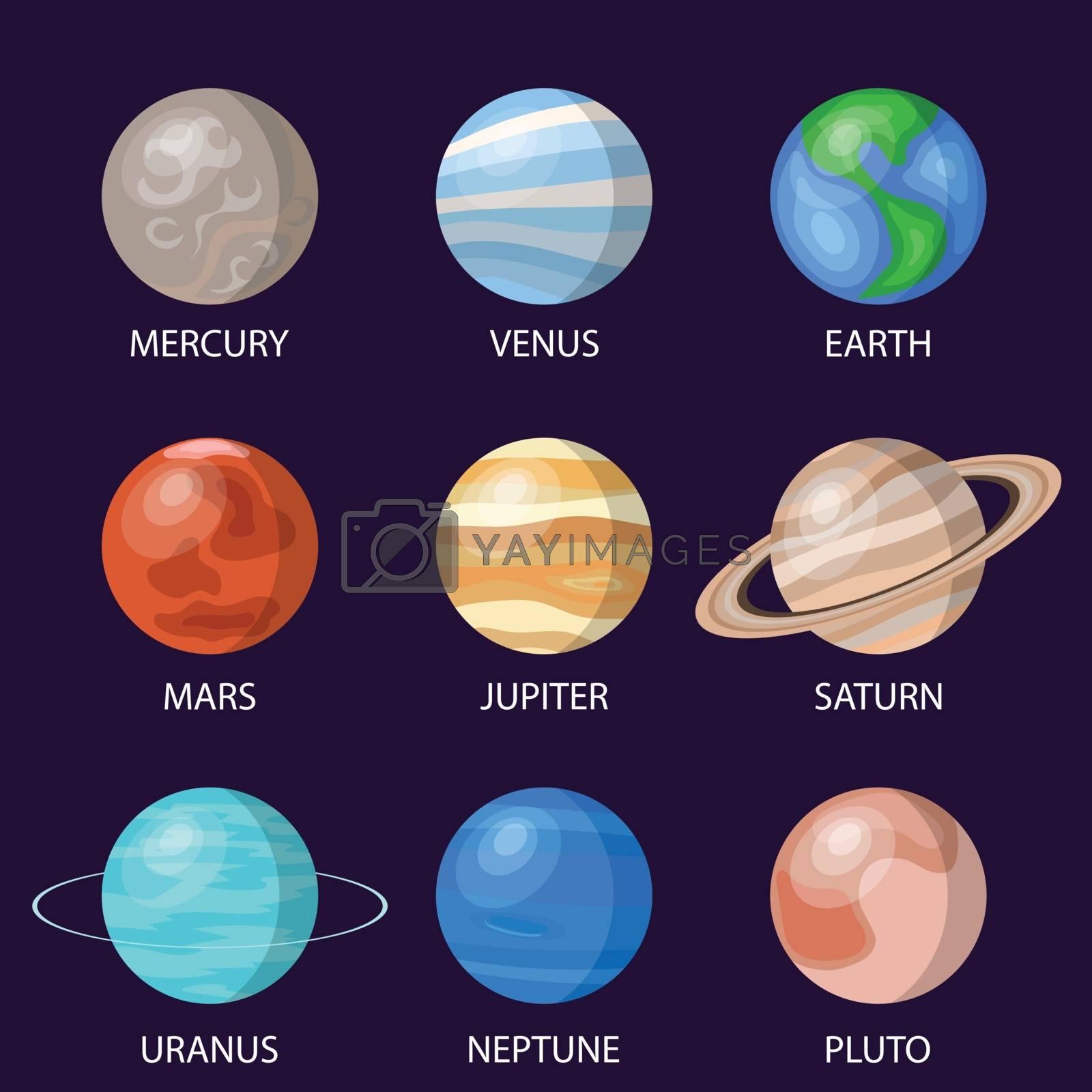 Solar system planets, vector illustration
