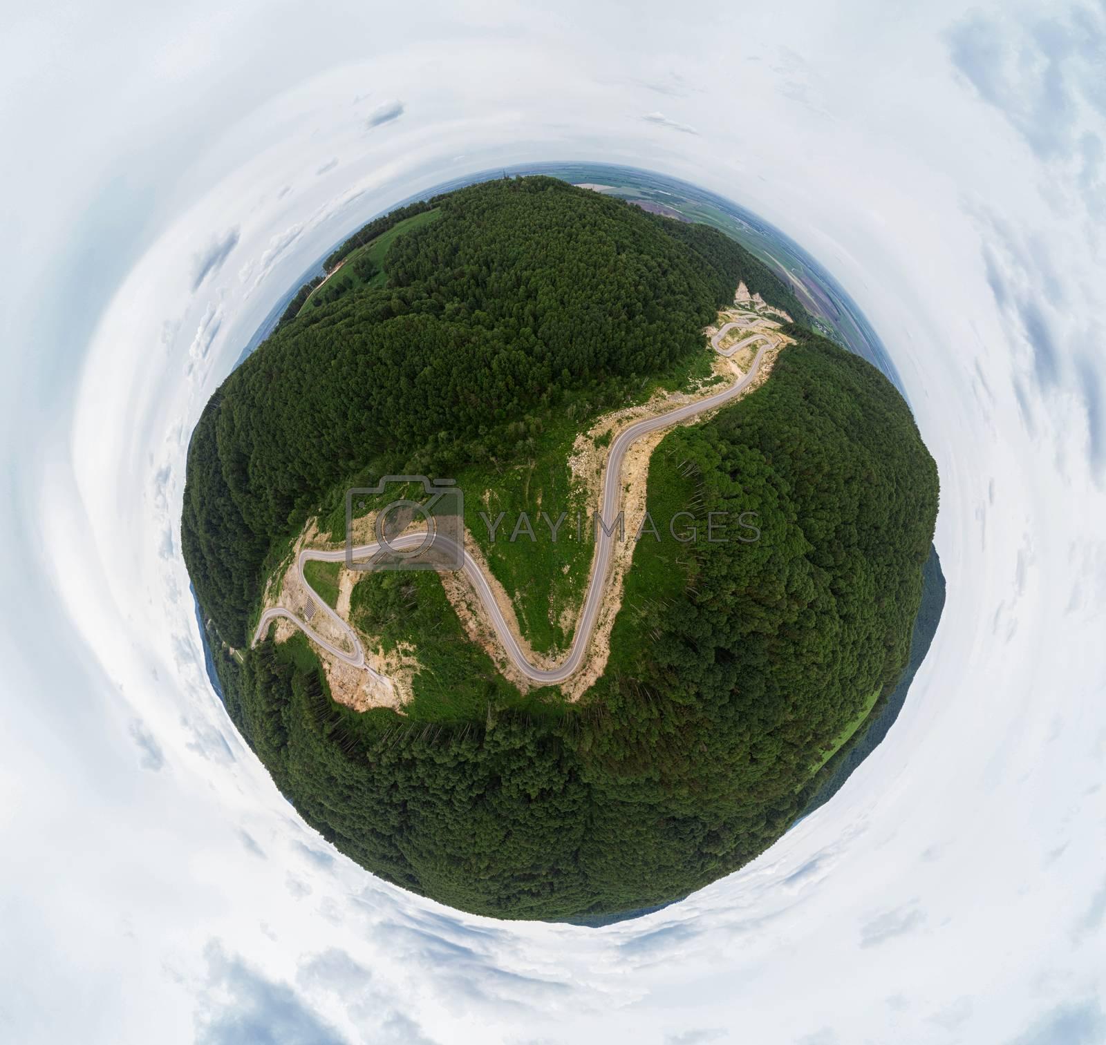 360 spherical panorama of aerial top vew of winding road in the mountains, Altai Krai, Western Siberia, Russia. Road to Resort town Belokurikha 2. Virtual reality content