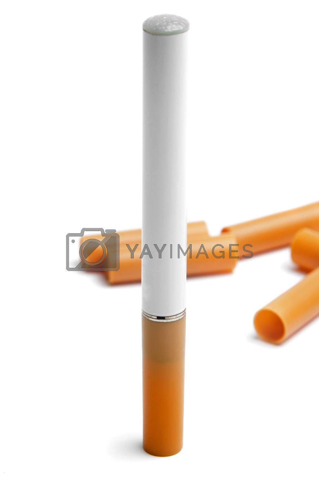 electronic cigarette with filters on white