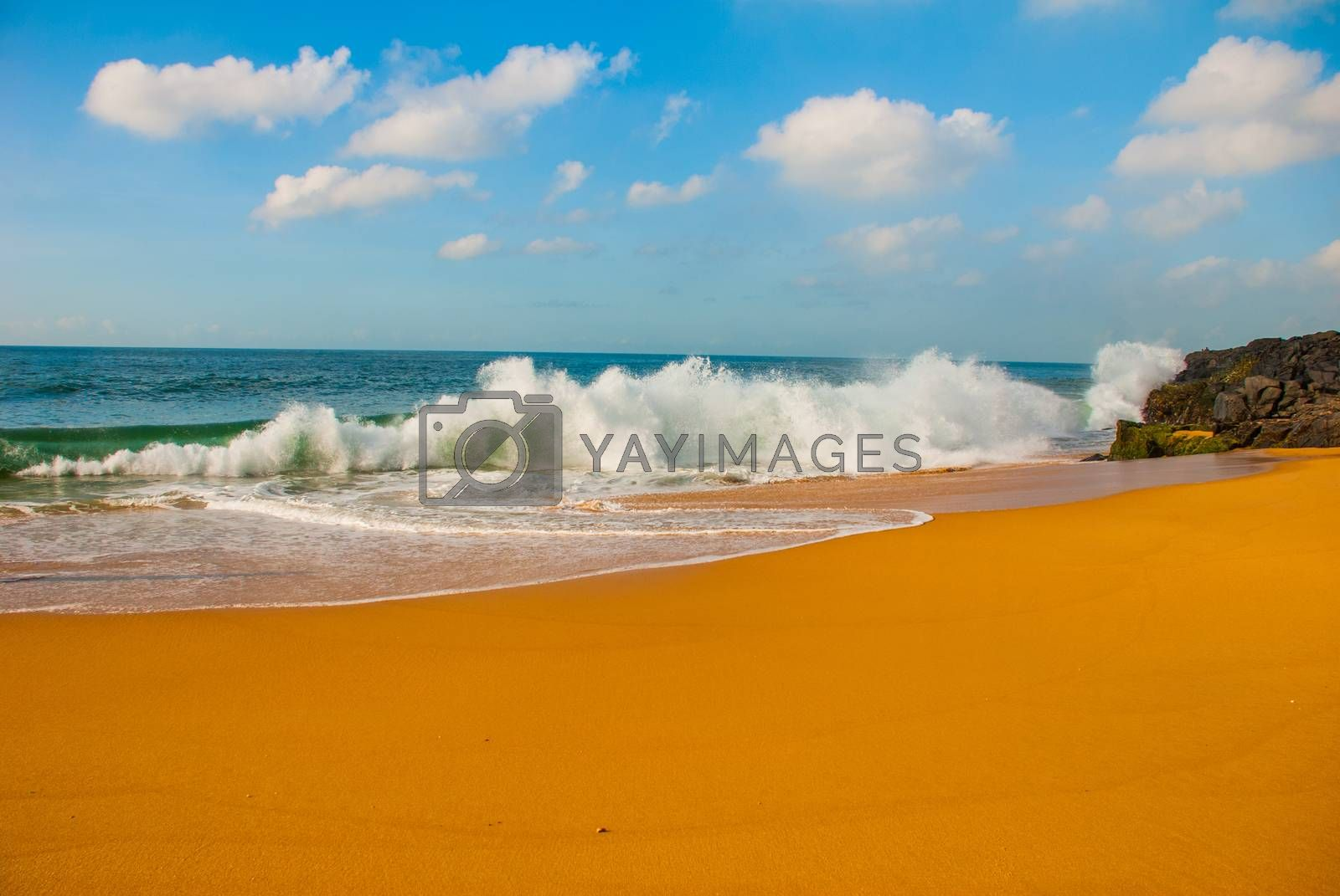 Brazilian beach with yellow sand and blue sea in Sunny weather. Brazil. Sao Salvador da Bahia de Todos os Santos. South America.