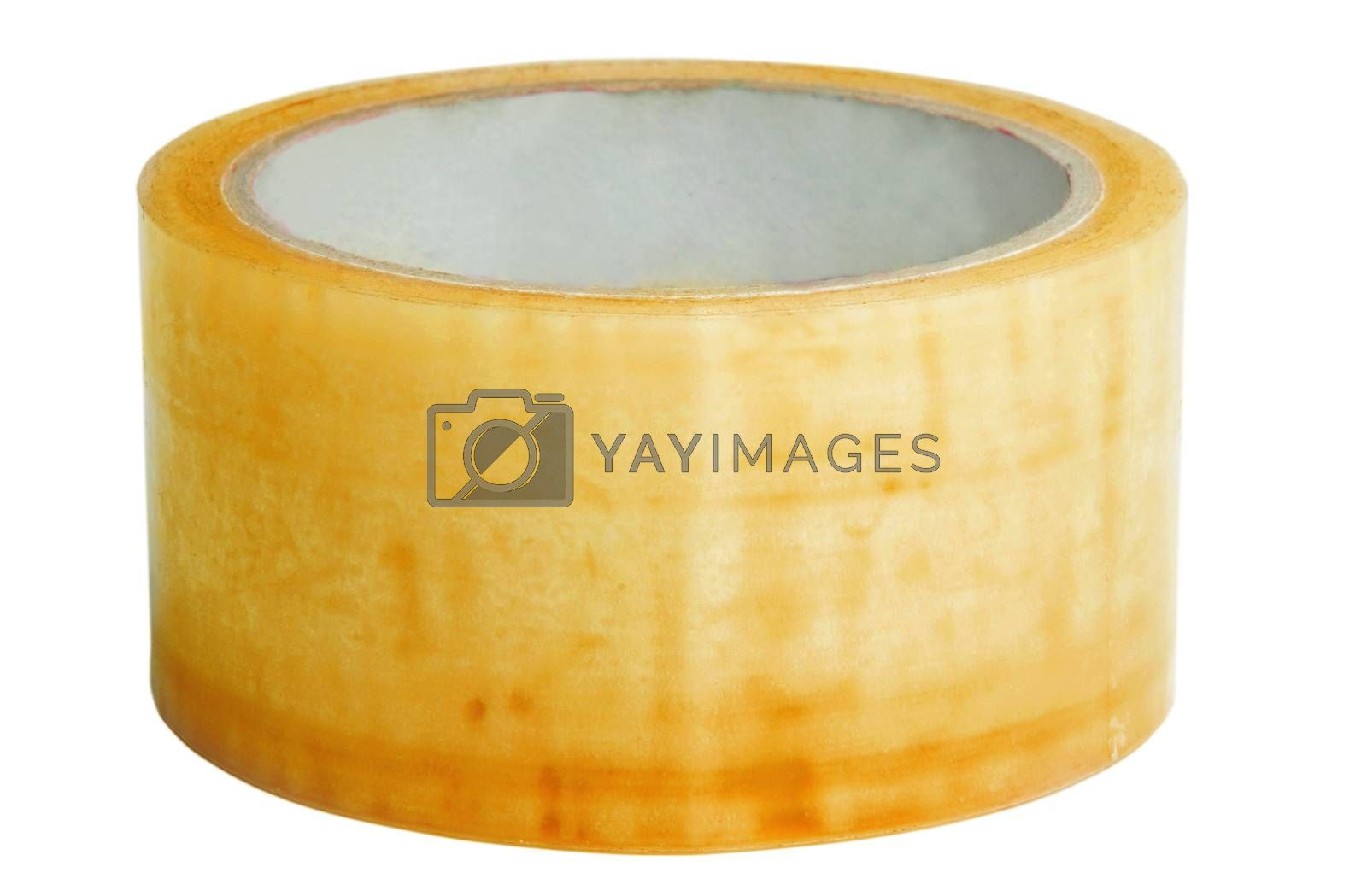 yellow masking tape on white