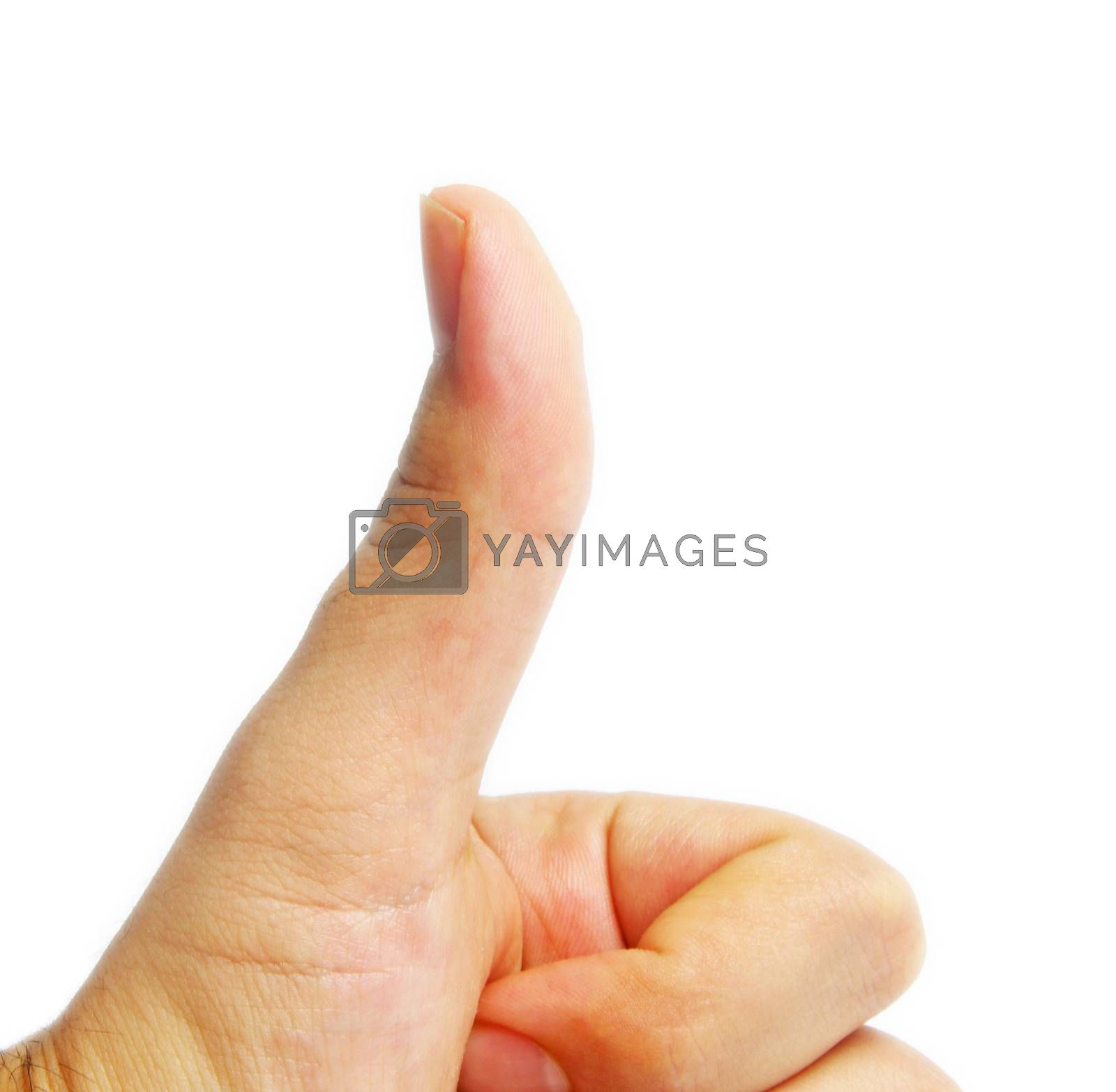 thumbs up on white surface