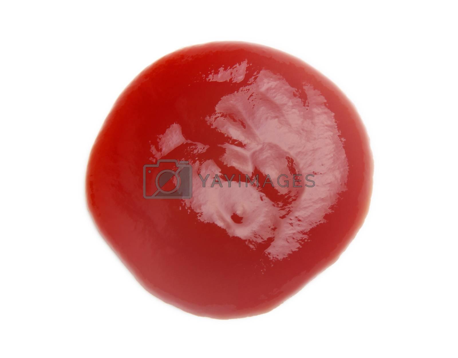 tomato sauce closeup isolated over white